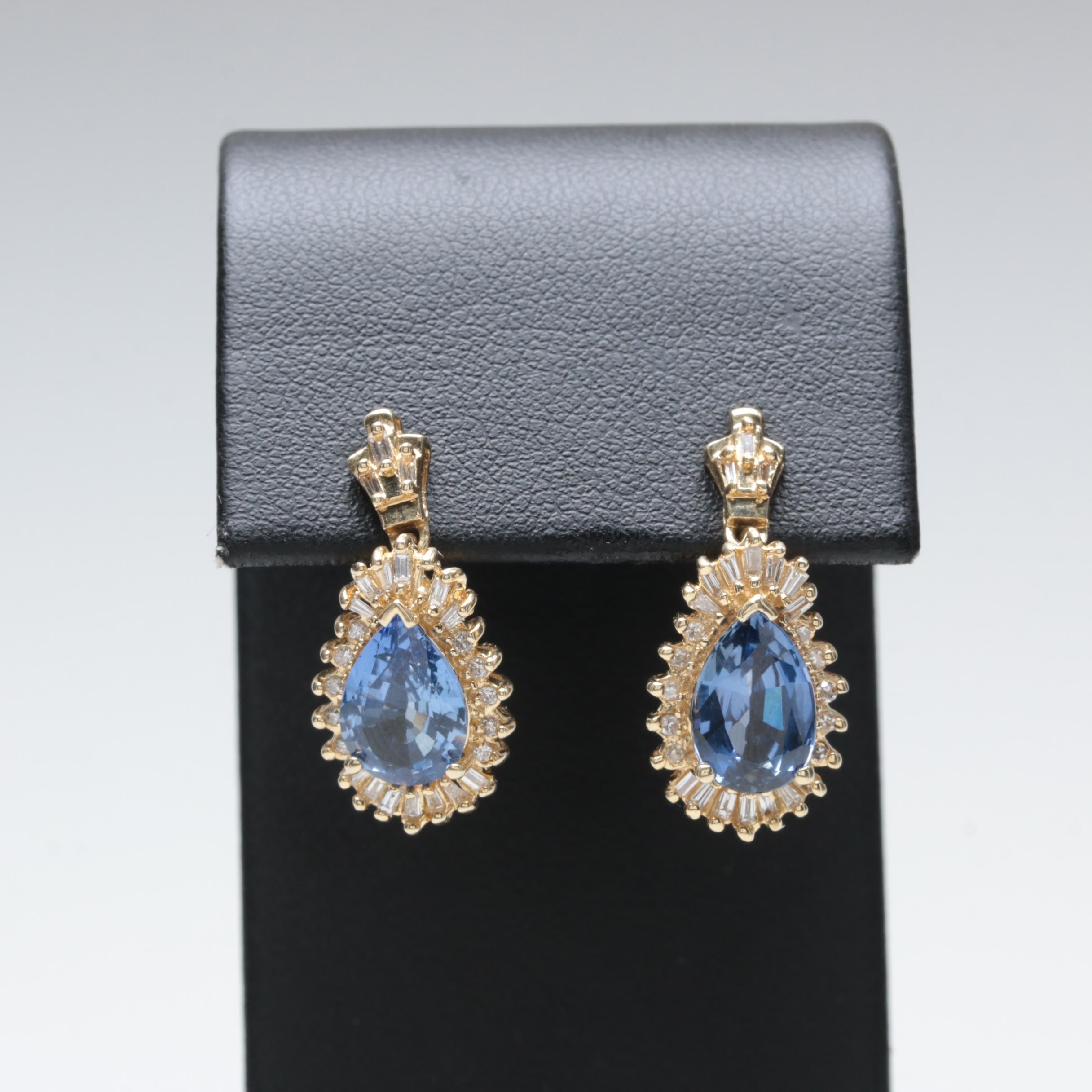 14K Yellow Gold Synthetic Blue Sapphire and Diamond Earrings