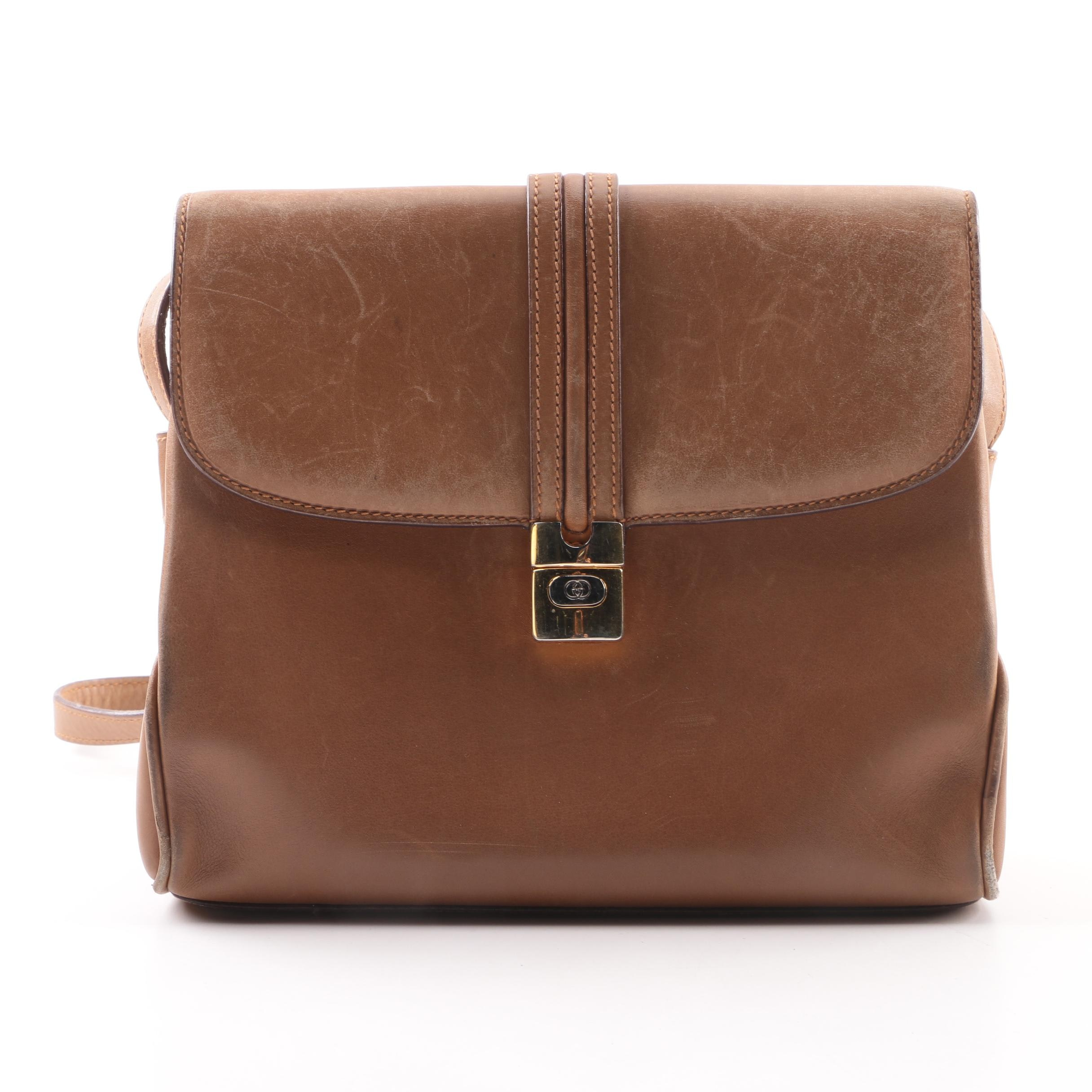 Vintage Gucci Brown Leather Shoulder Bag