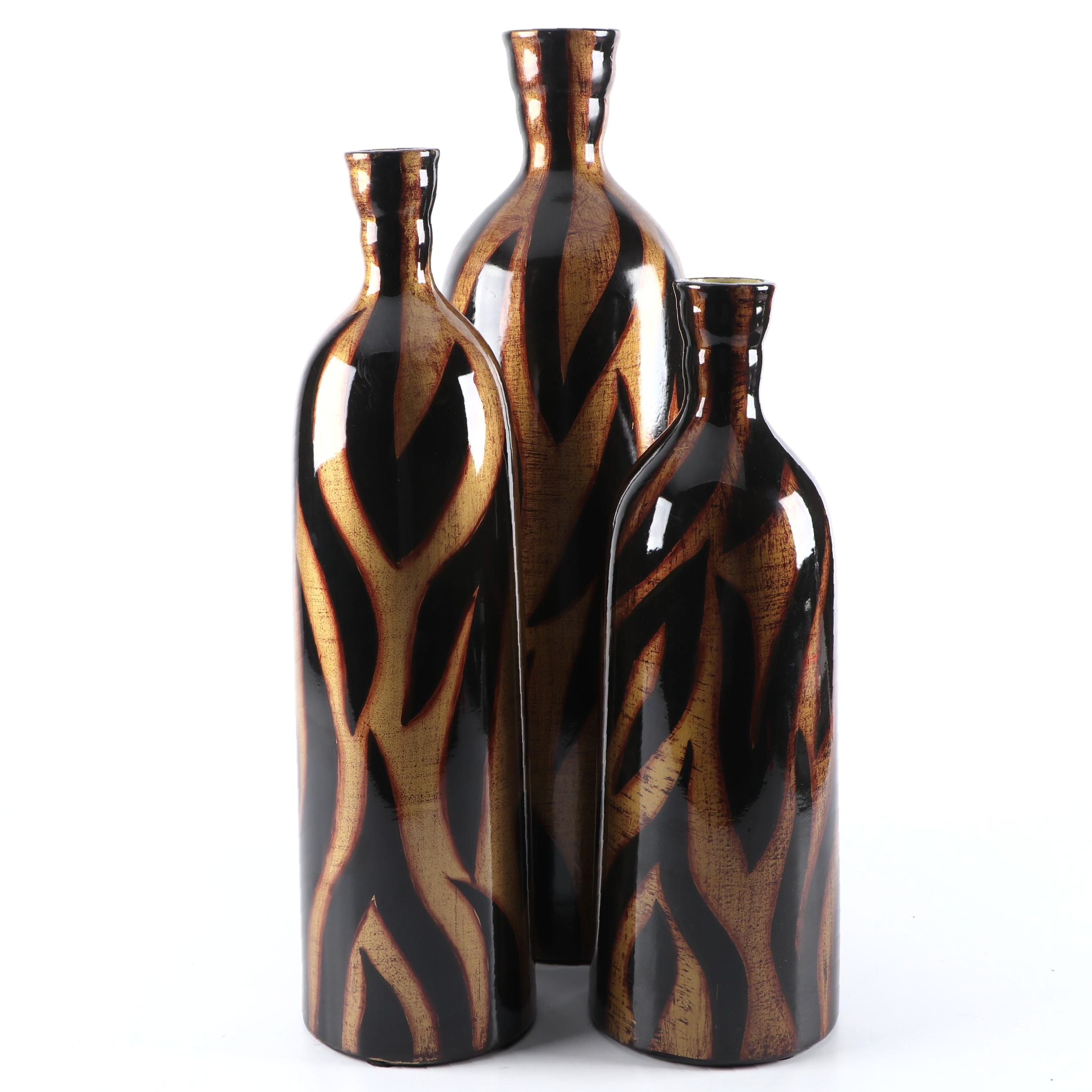 Contemporary Bottle Shaped Glass Vases