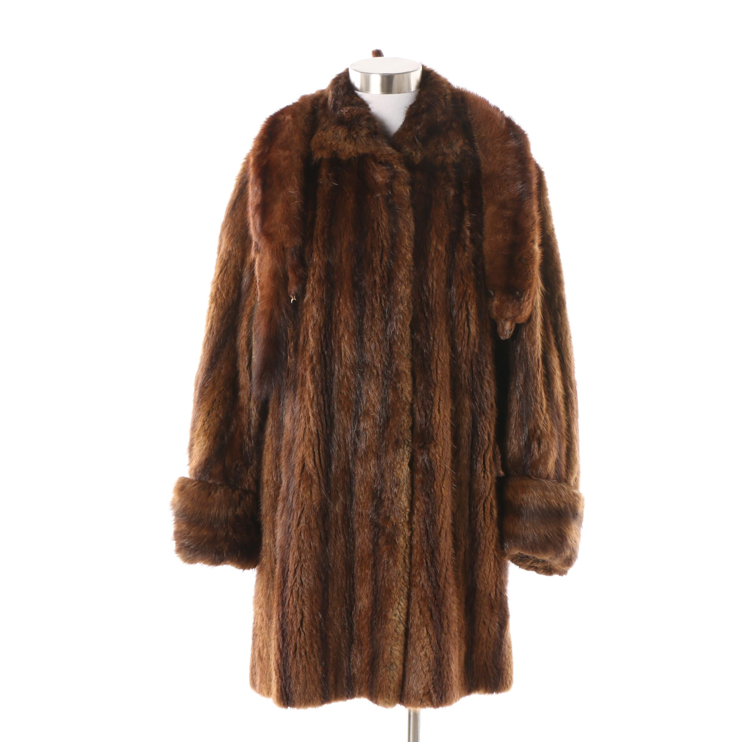 Vintage R.M. Taylor & Co. Furs Muskrat Fur Coat with Mink Fur Stole