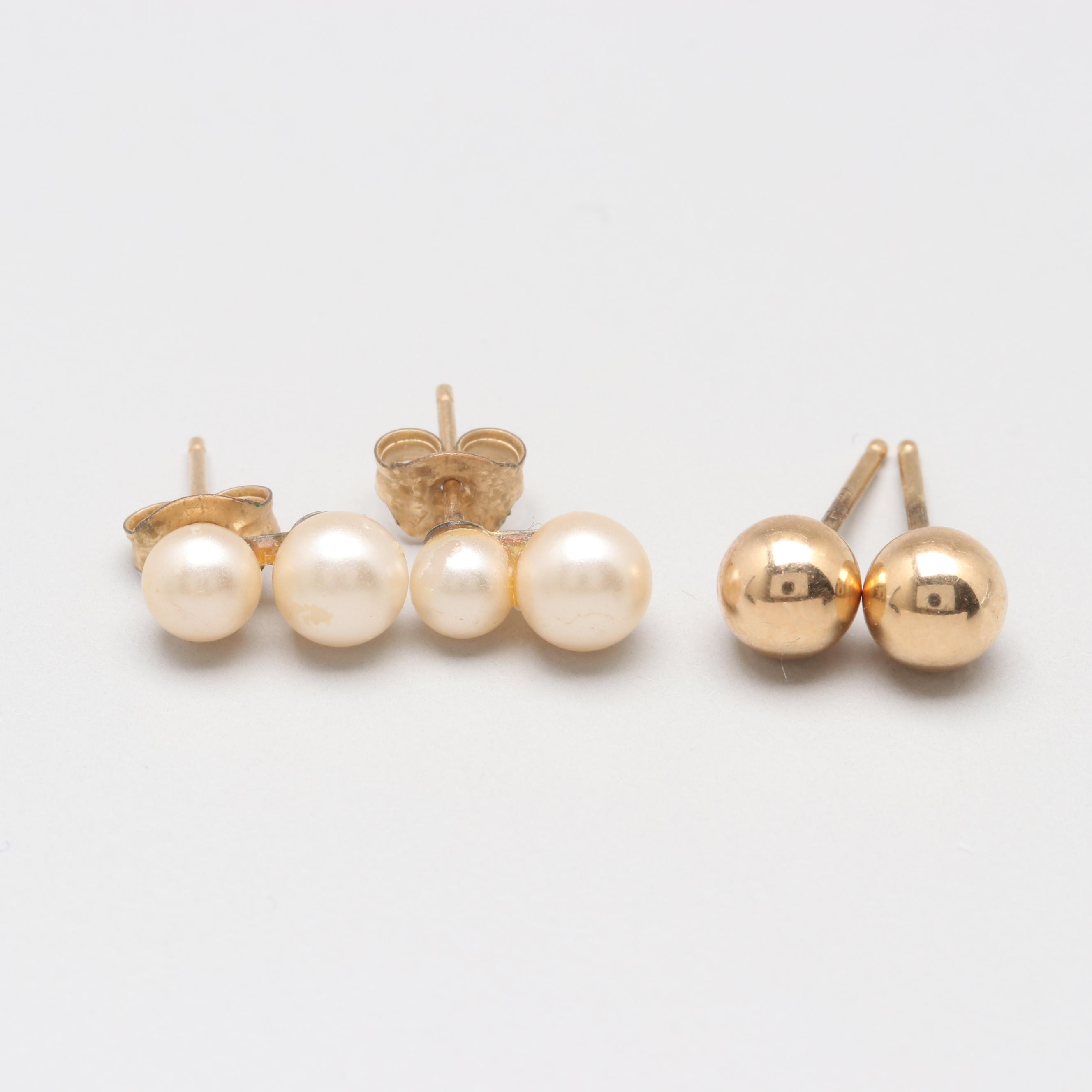 14K Yellow Gold Earrings Including Imitation Pearls