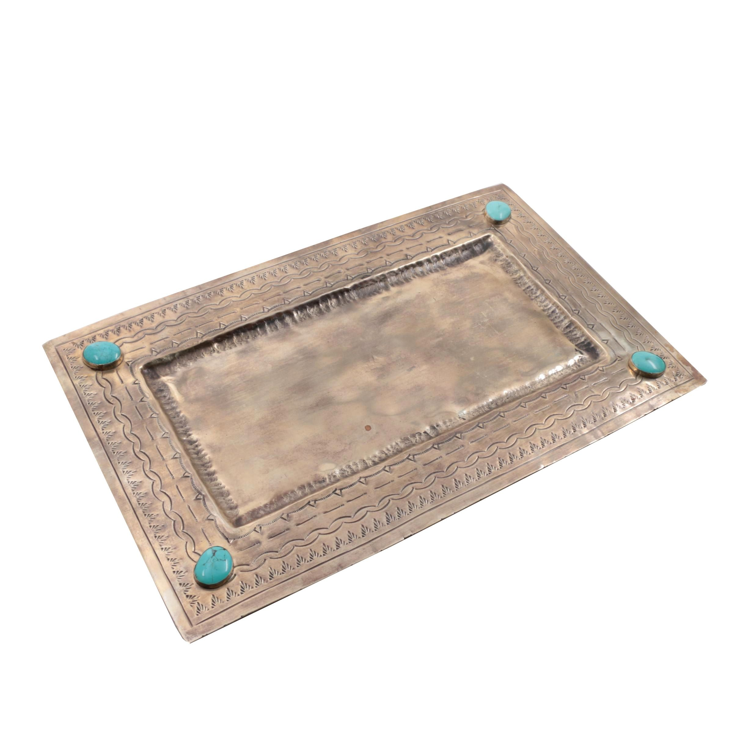 J. Alexander Handcrafted Silver Tone Tray with Reconstituted Turquoise Cabochons