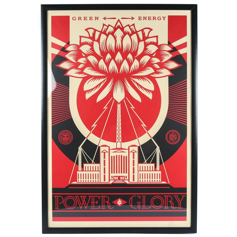 "Shepard Fairey Open Edition Offset Print ""Green Energy Power Glory"""