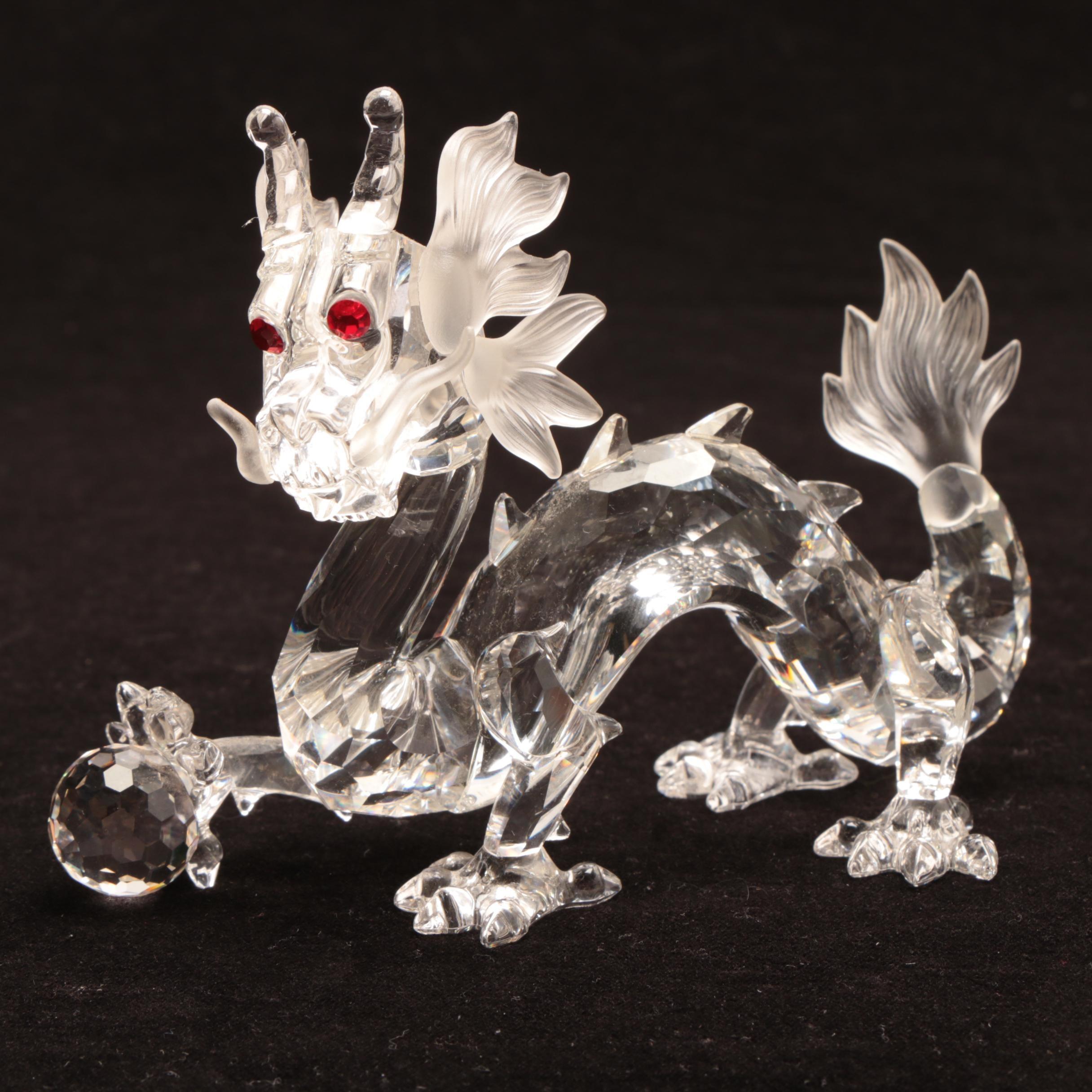 1997 Swarovski Red Eyed Dragon Glass Figurine With Original Case and Box