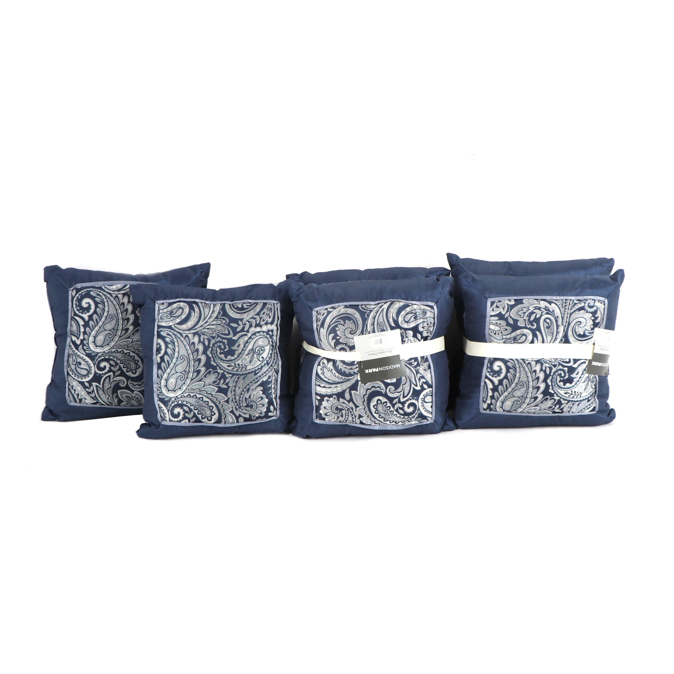 Madison Park Blue Paisley Throw Pillows ...