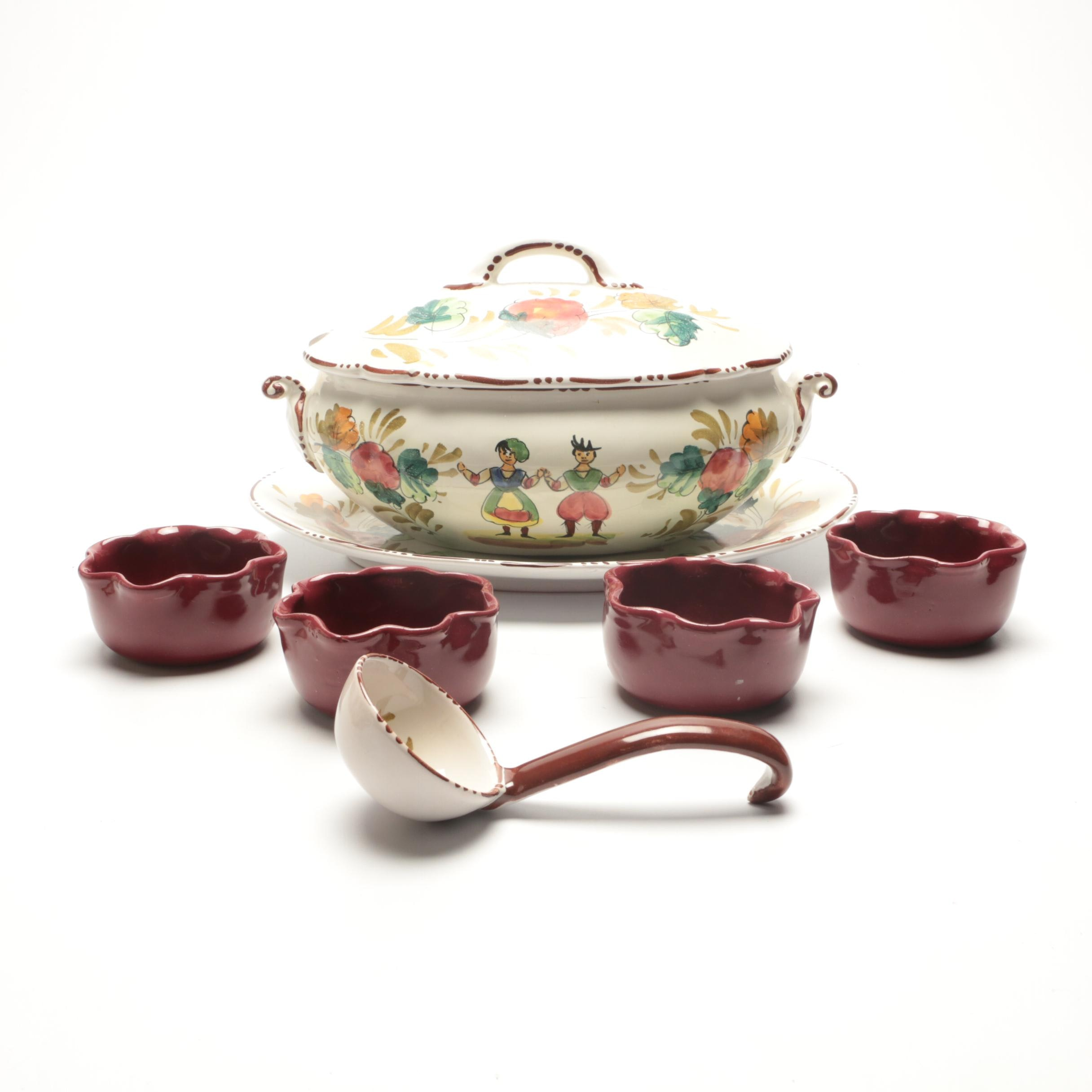 Italian Faience Soup Tureen with Bybee Pottery Bowls