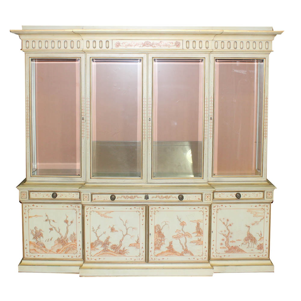Karges Hand-Painted Breakfront China Cabinet