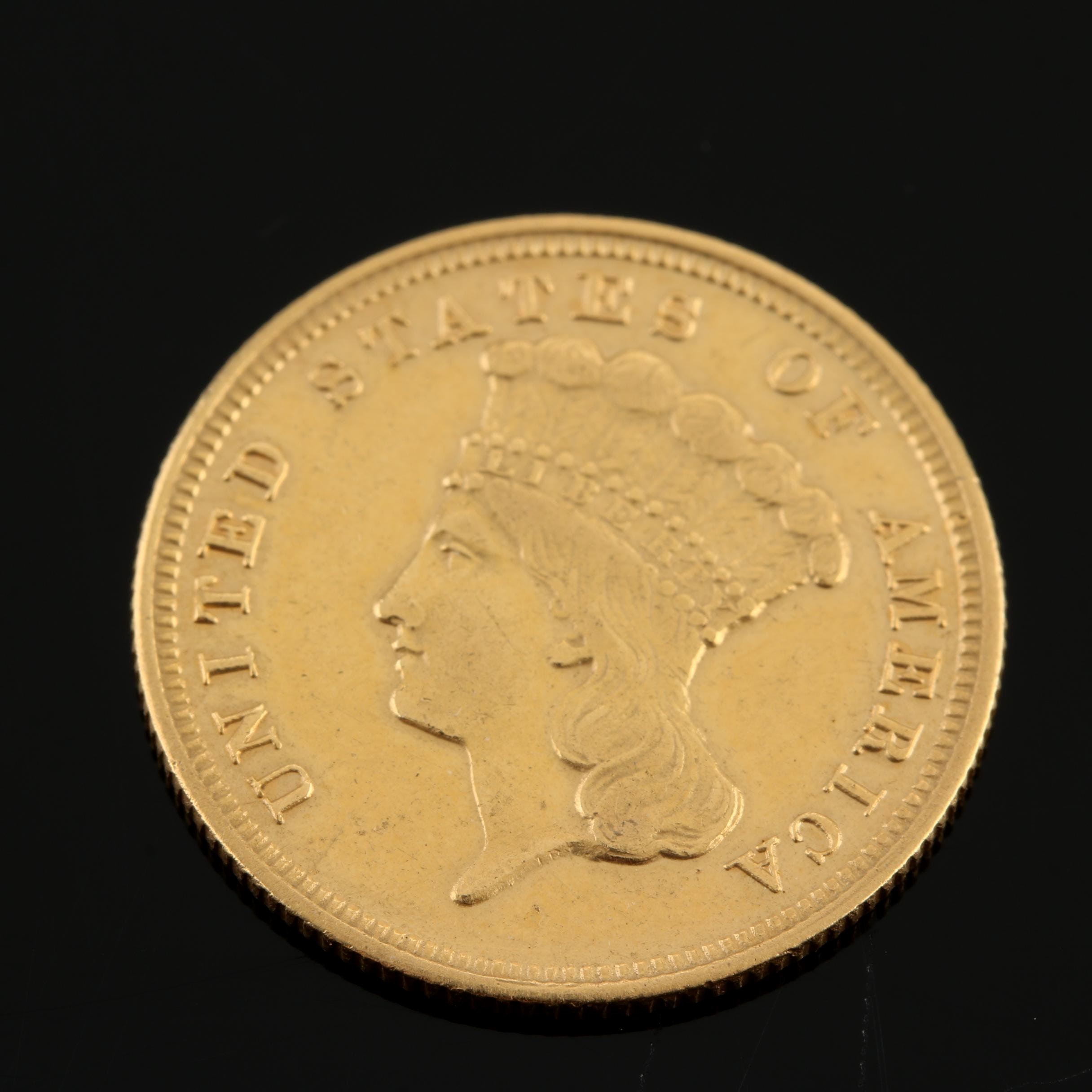 1878 Indian Head Princess $3 Gold Coin