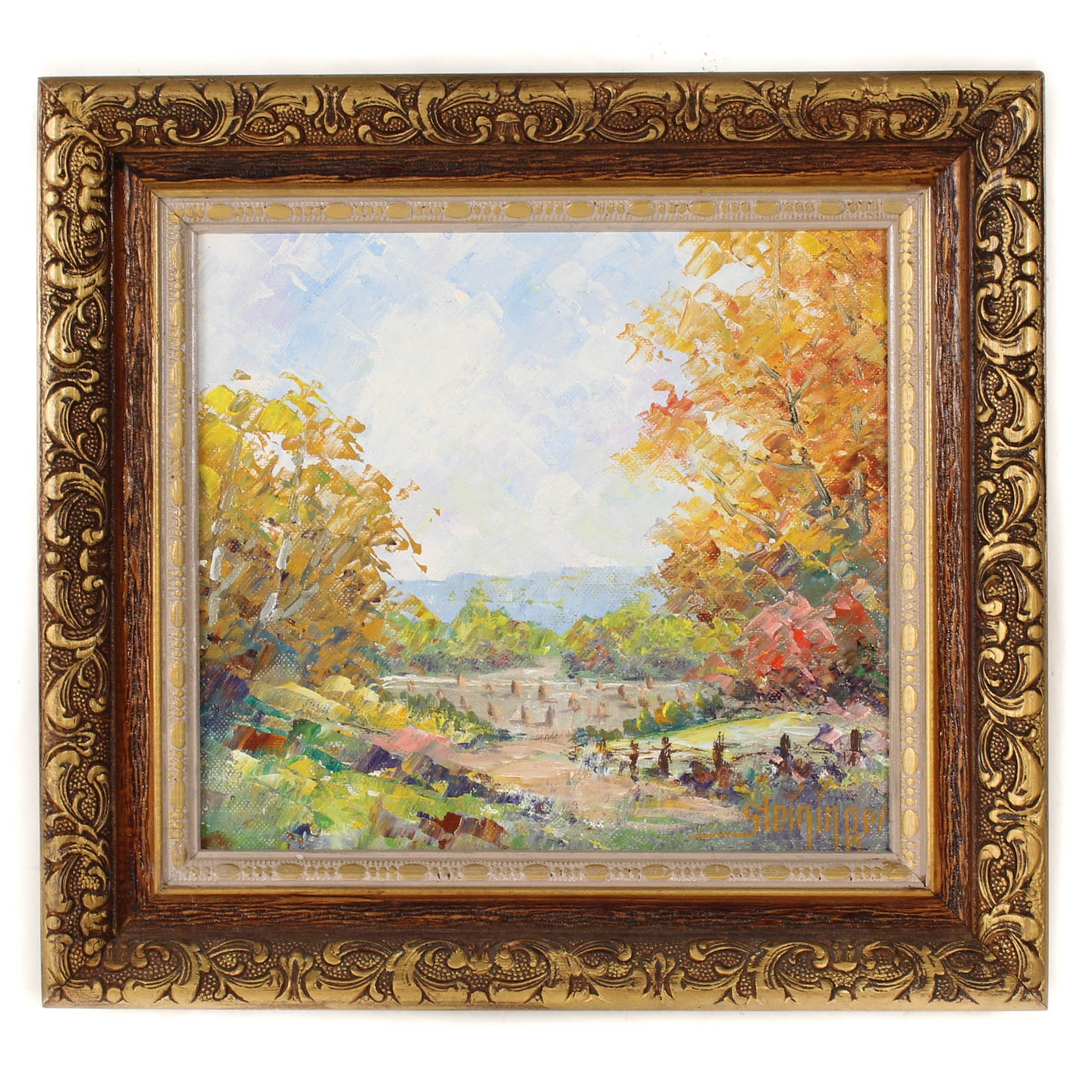 "Dwight Steininger 1992 Oil Painting ""Autumn's Here Again"""