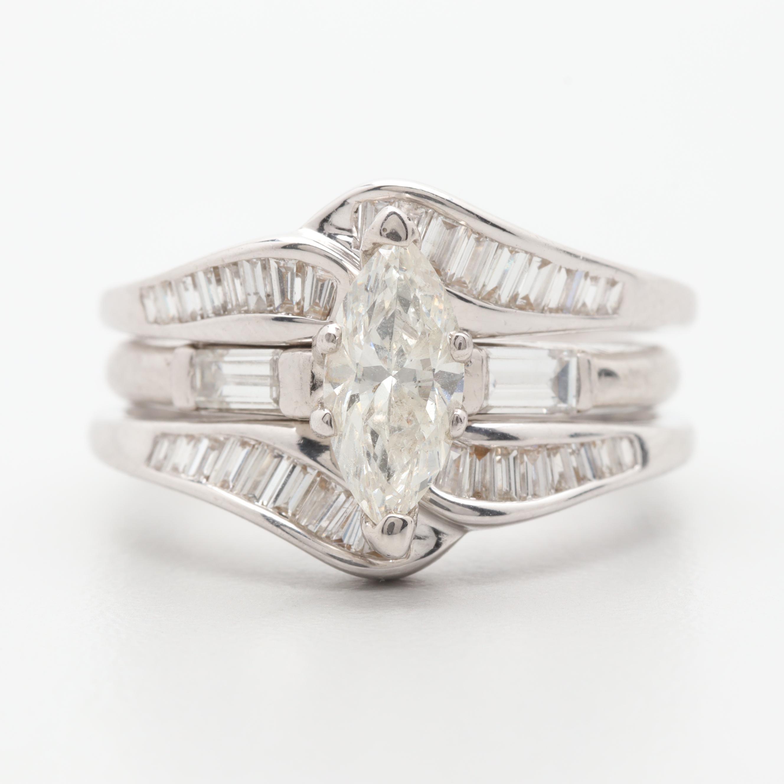 Platinum and 14K White Gold 1.83 CTW Diamond Wedding Ring Set