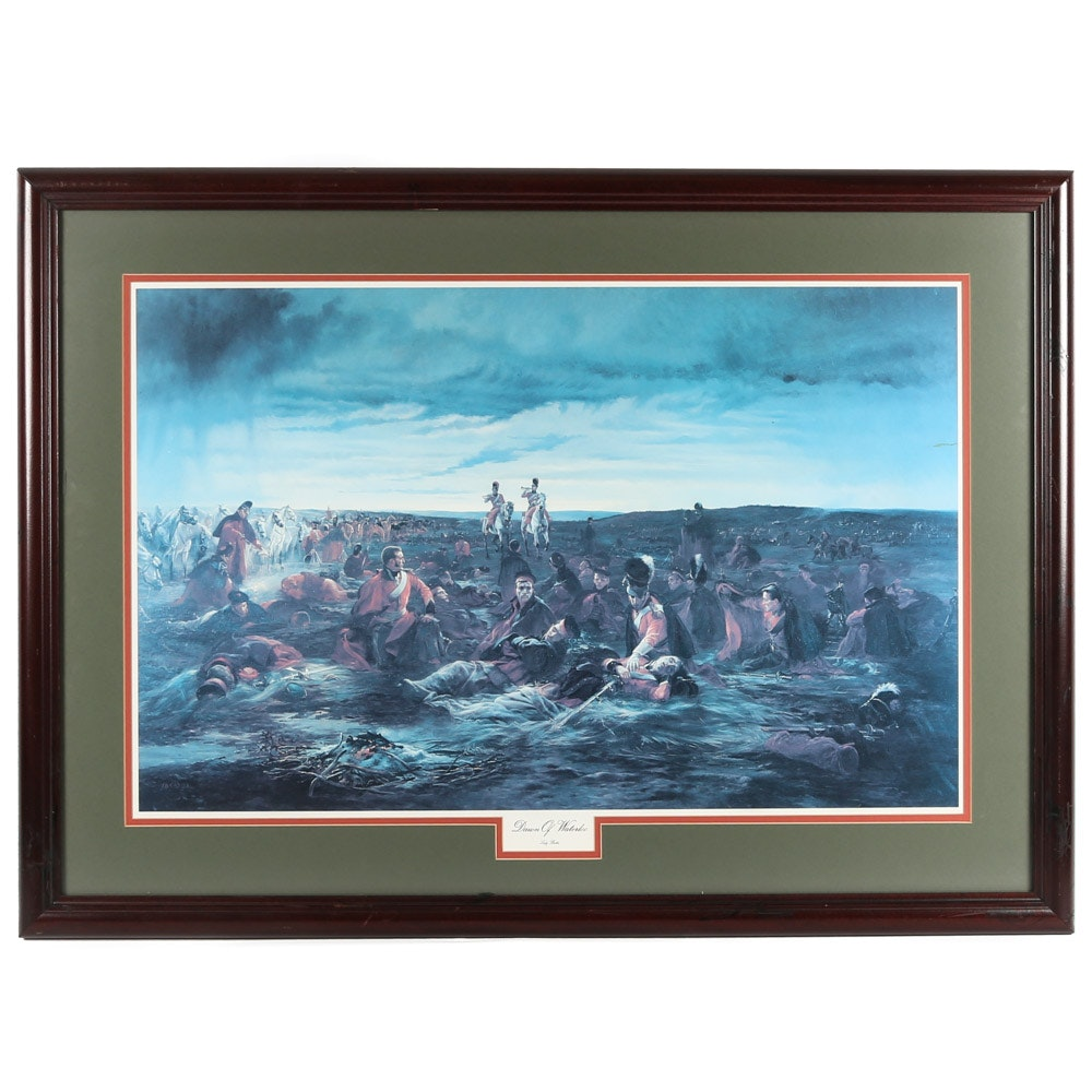 """Offset Lithograph after Lady Elizabeth Butler """"Dawn of Waterloo"""""""