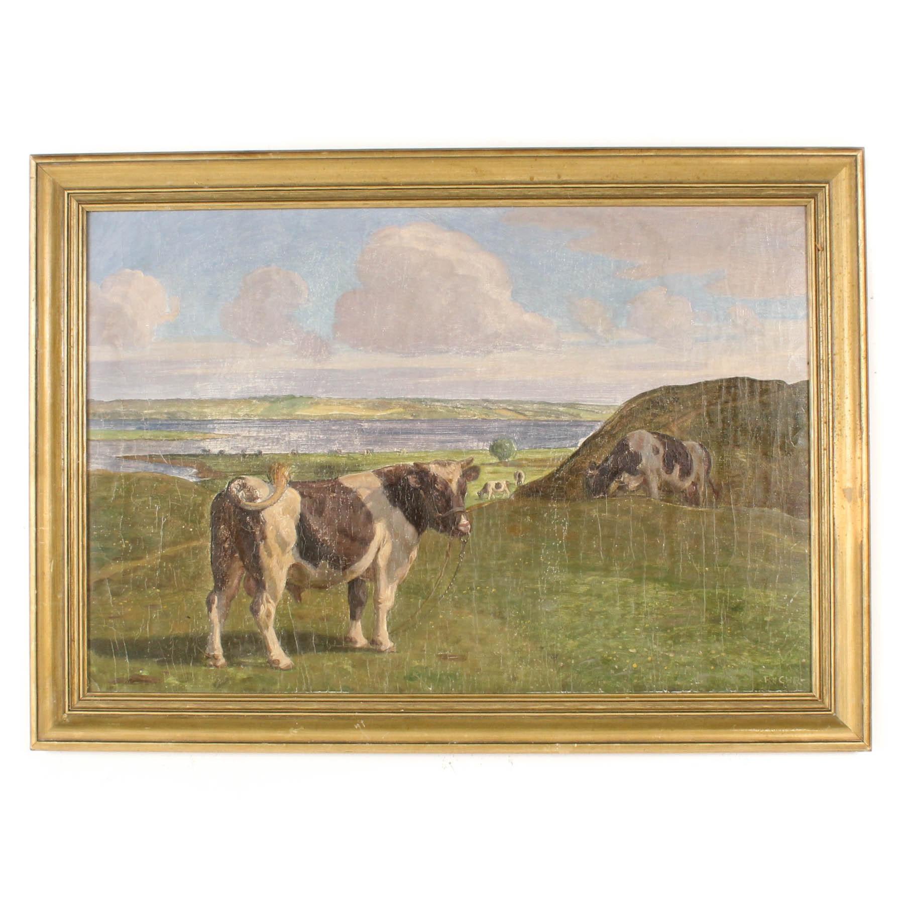 1926 Bucolic Landscape Oil Painting