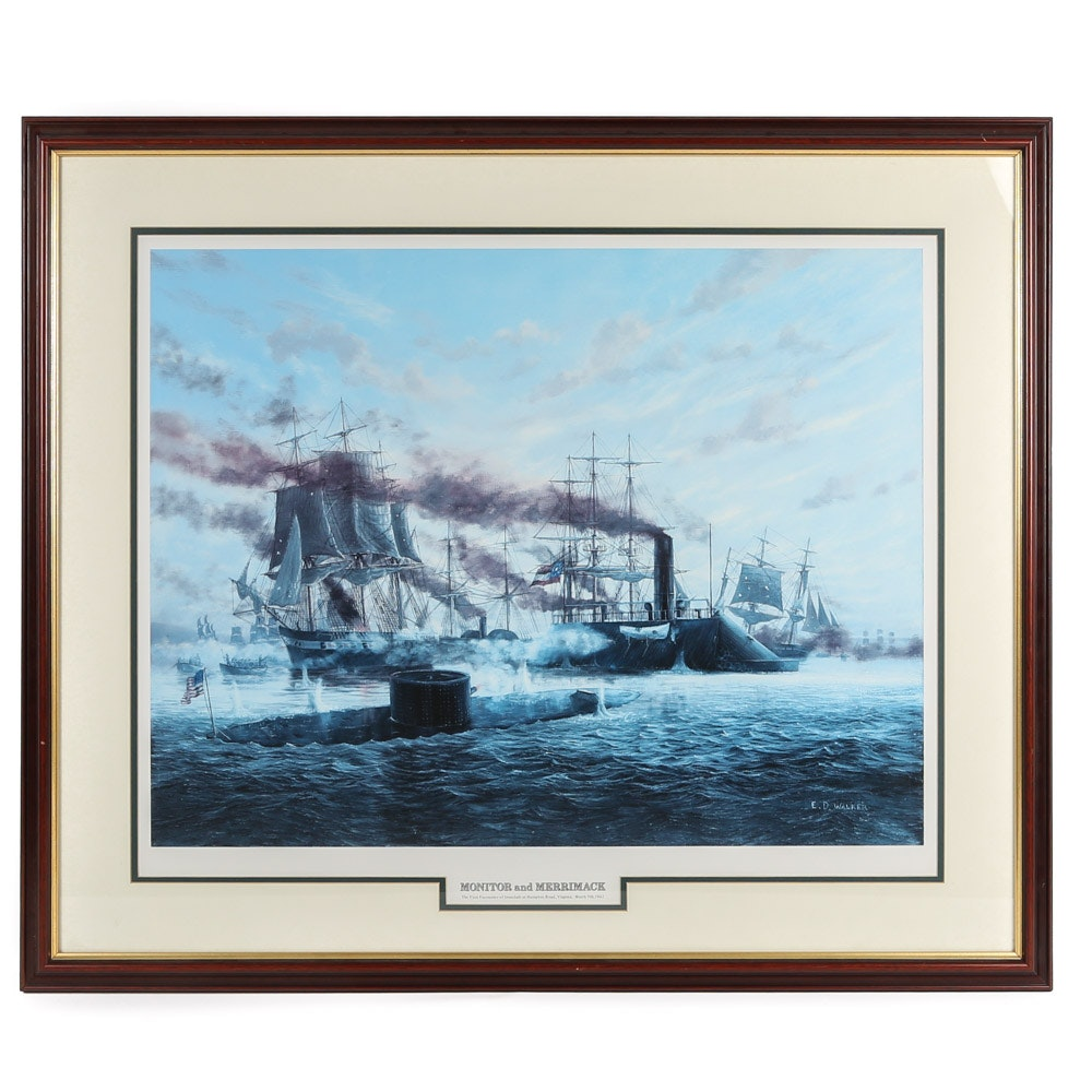 """After E. D. Walker Offset Lithograph """"Monitor and Merrimack"""""""