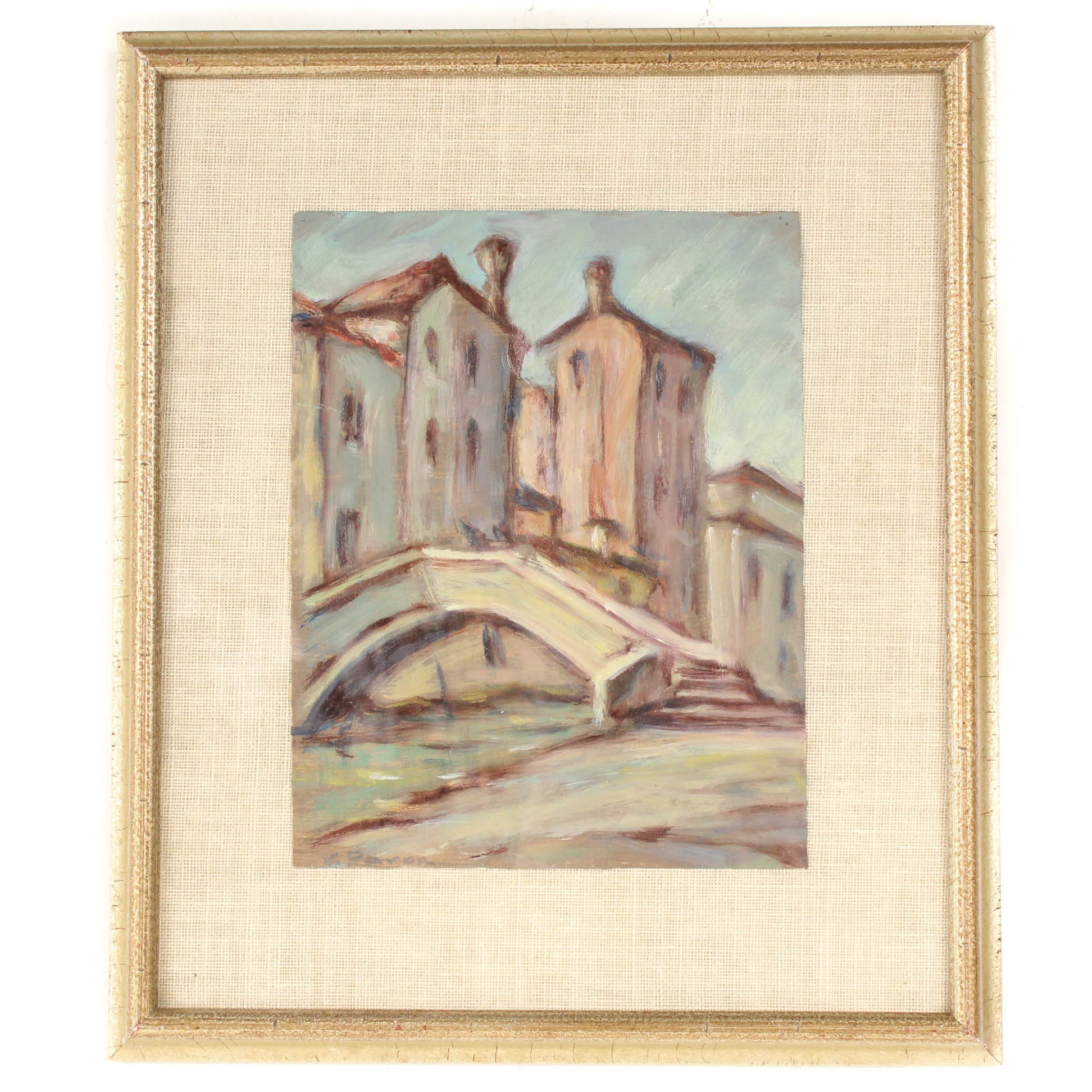 V. Pavon Oil Painting of Venetian Bridge