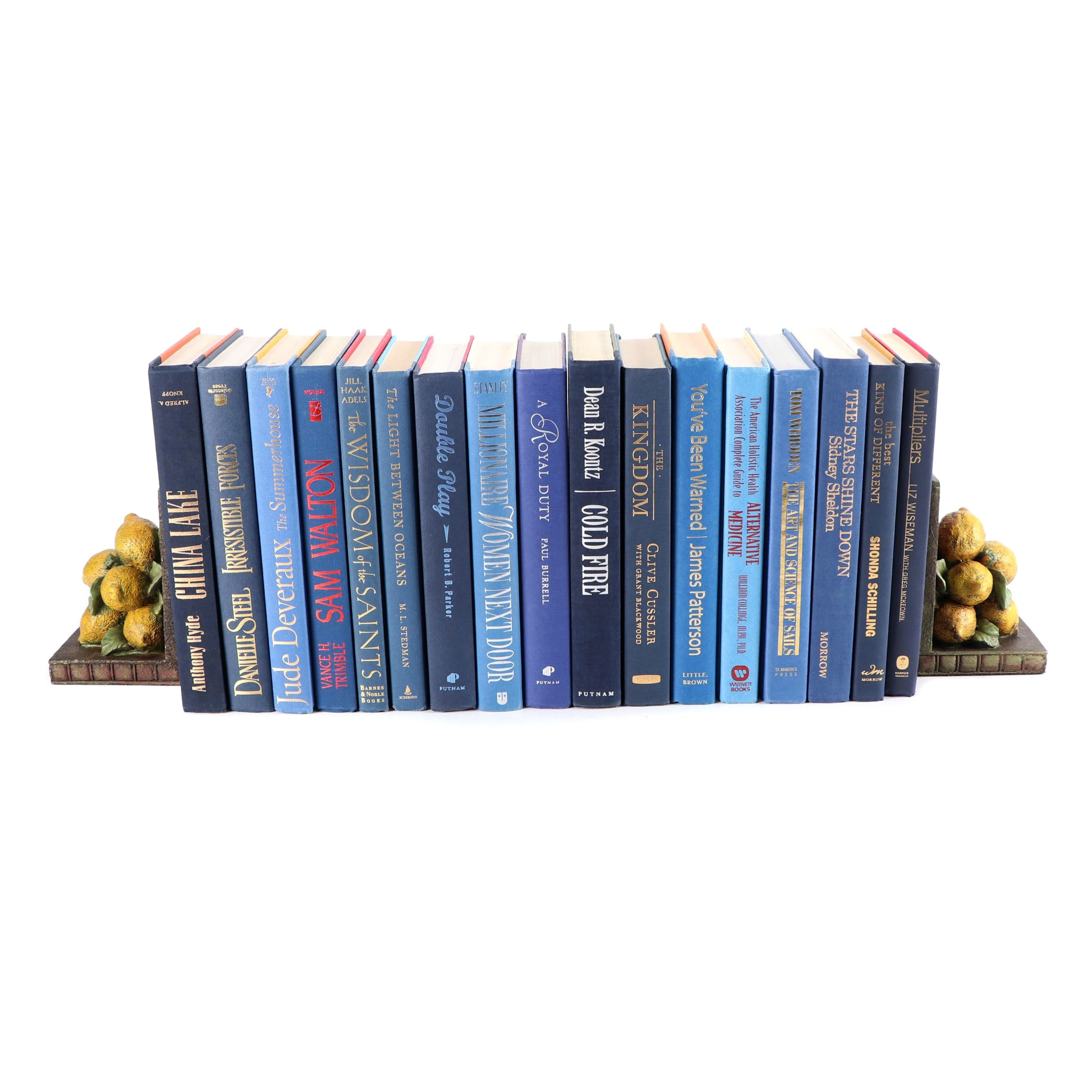 Sterling Industries Cast Resin Lemon Bookends with Blue Display Book Assortment