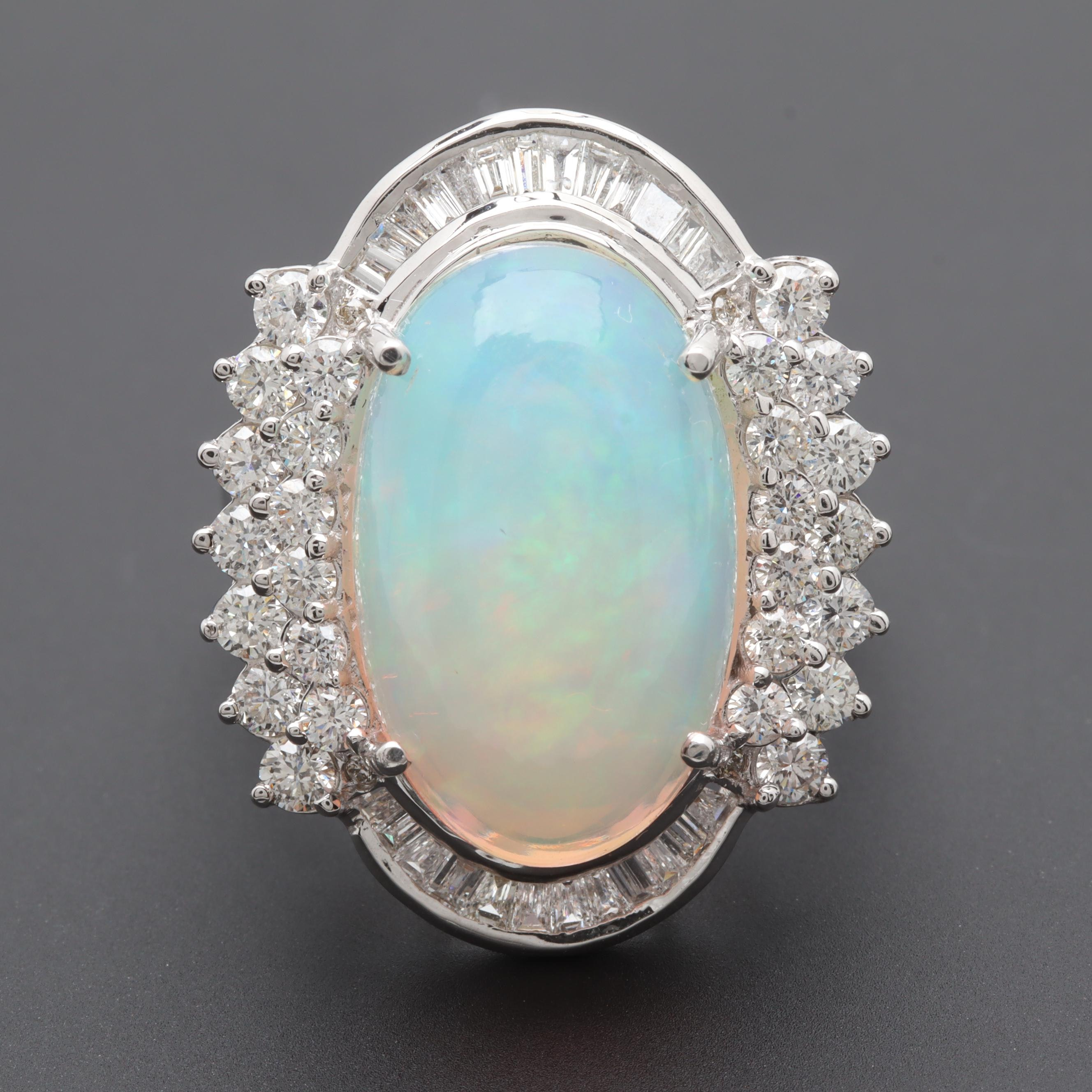 18K White Gold 10.82 CT Jelly Opal and 1.97 CTW Diamond Ring