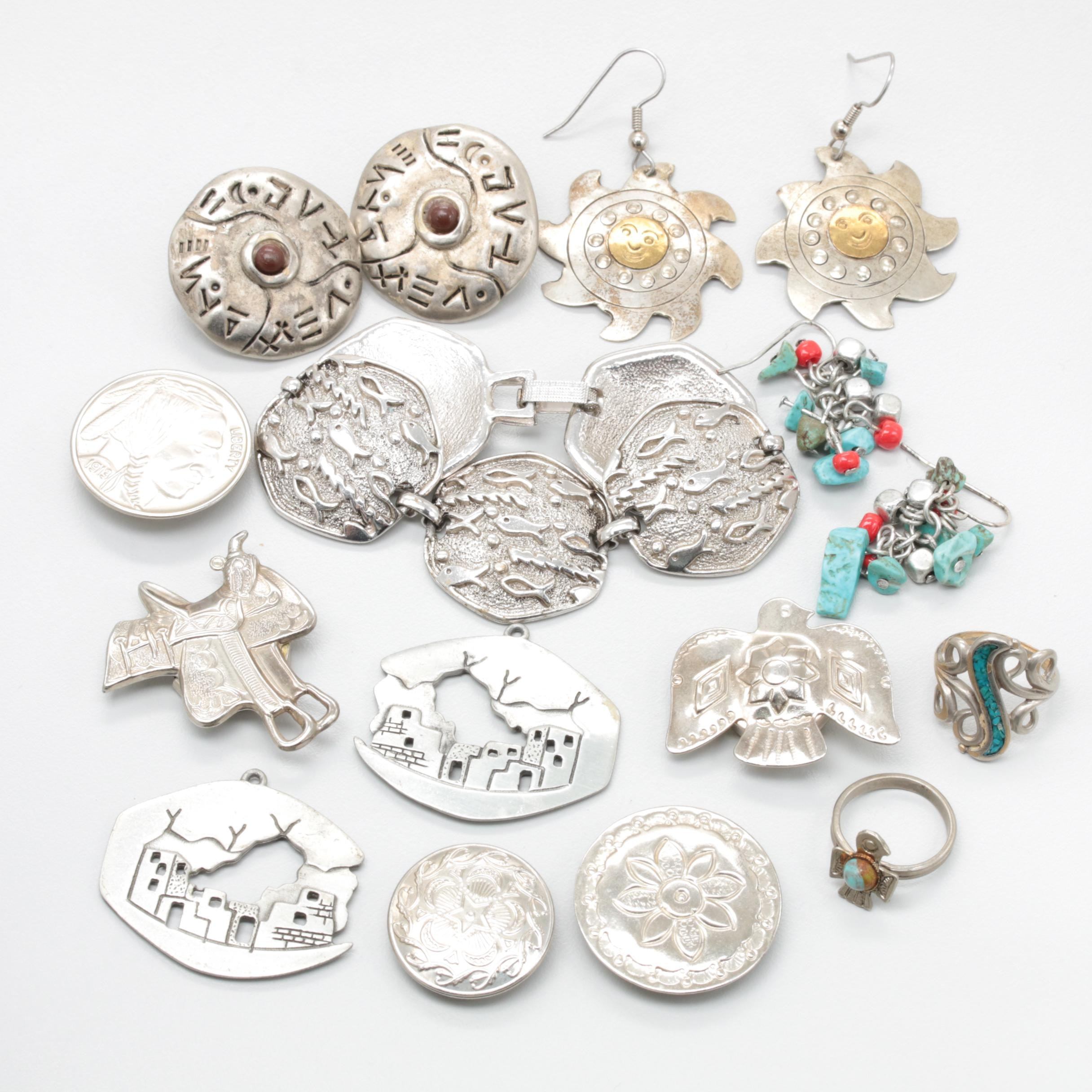 Collection of Southwestern Style Jewelry Including Magnesite and Imitation Stone