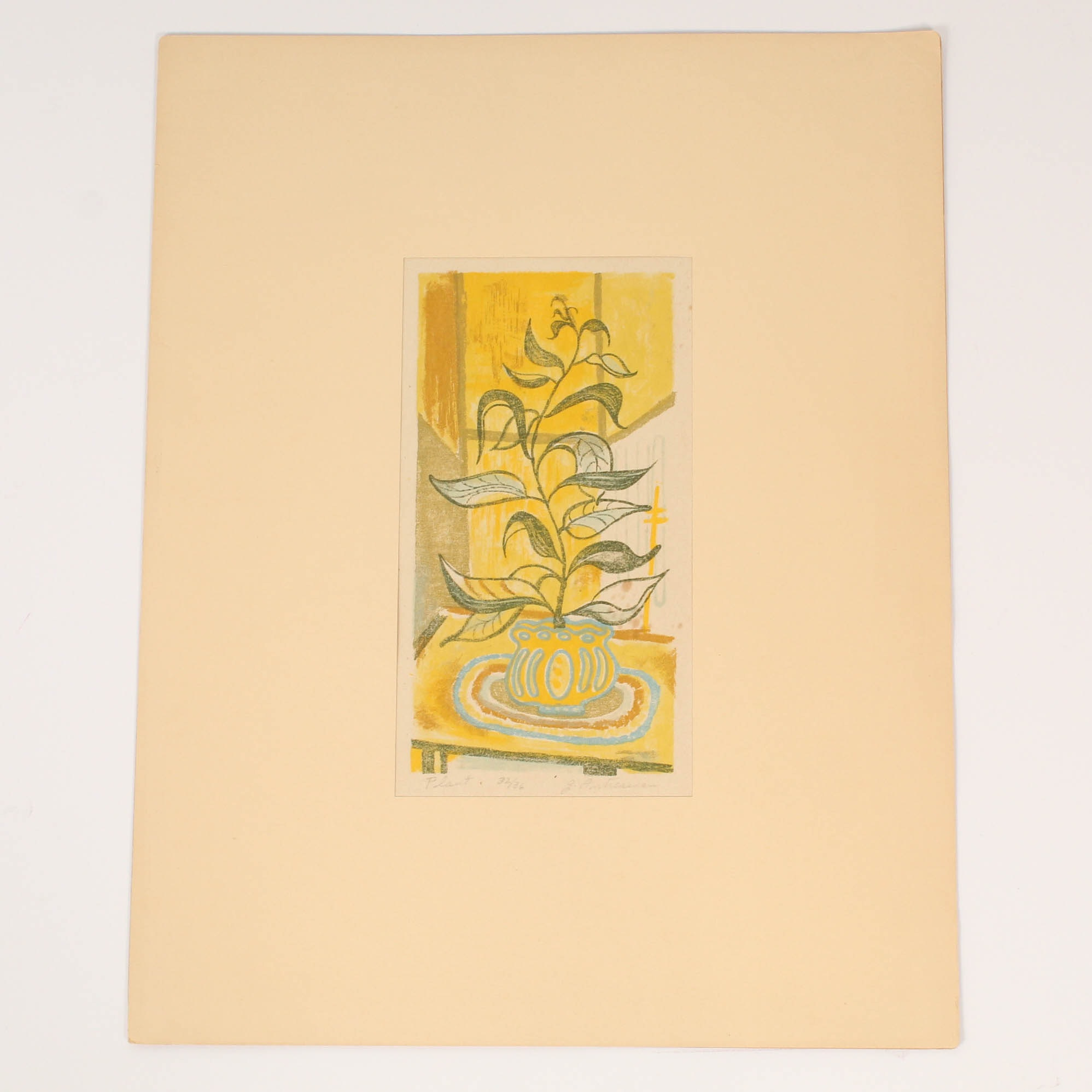 """Garo Antreasian Limited Edition Color Lithograph """"Plant"""""""