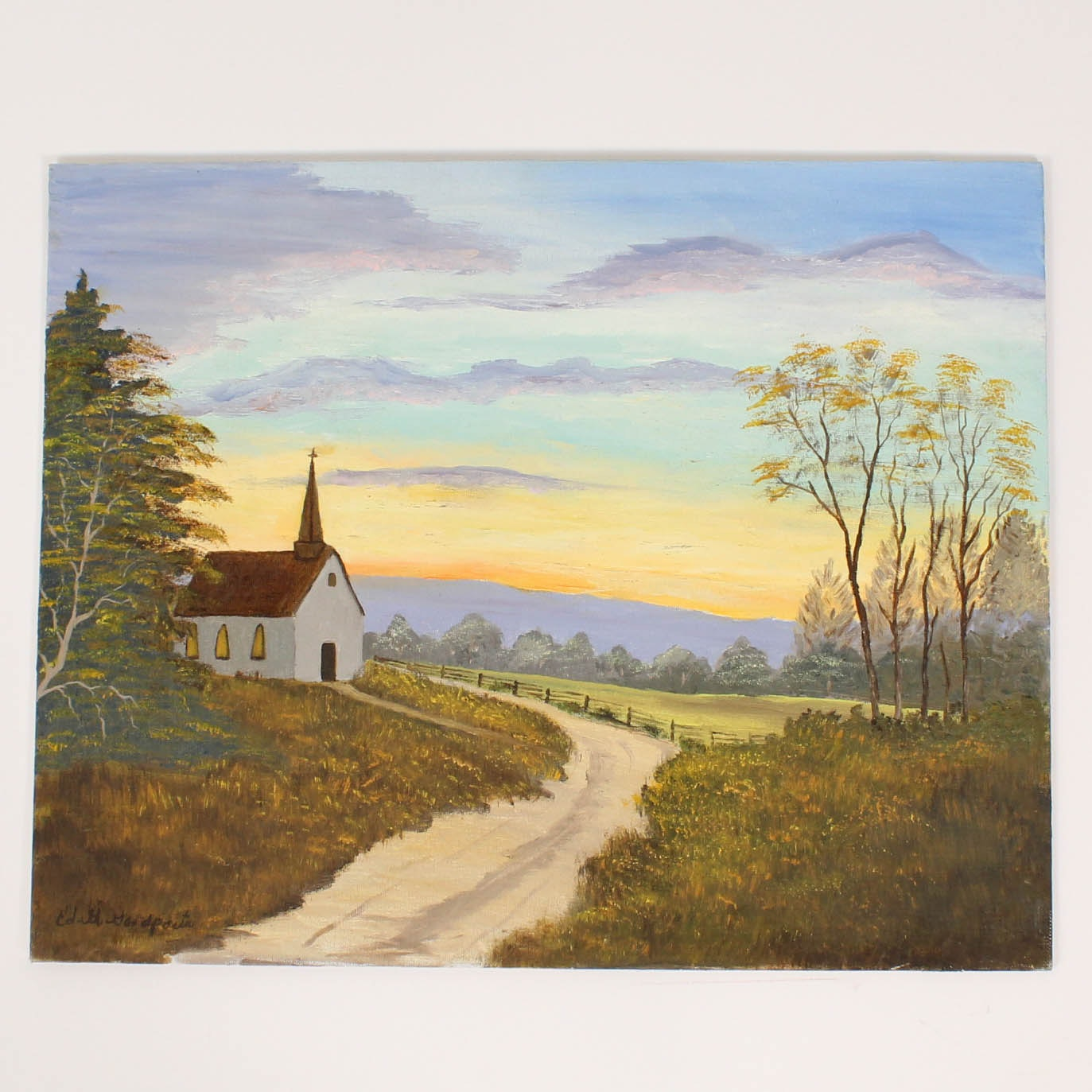 Edith Goodpasta Landscape Oil Painting of Church at Sunset