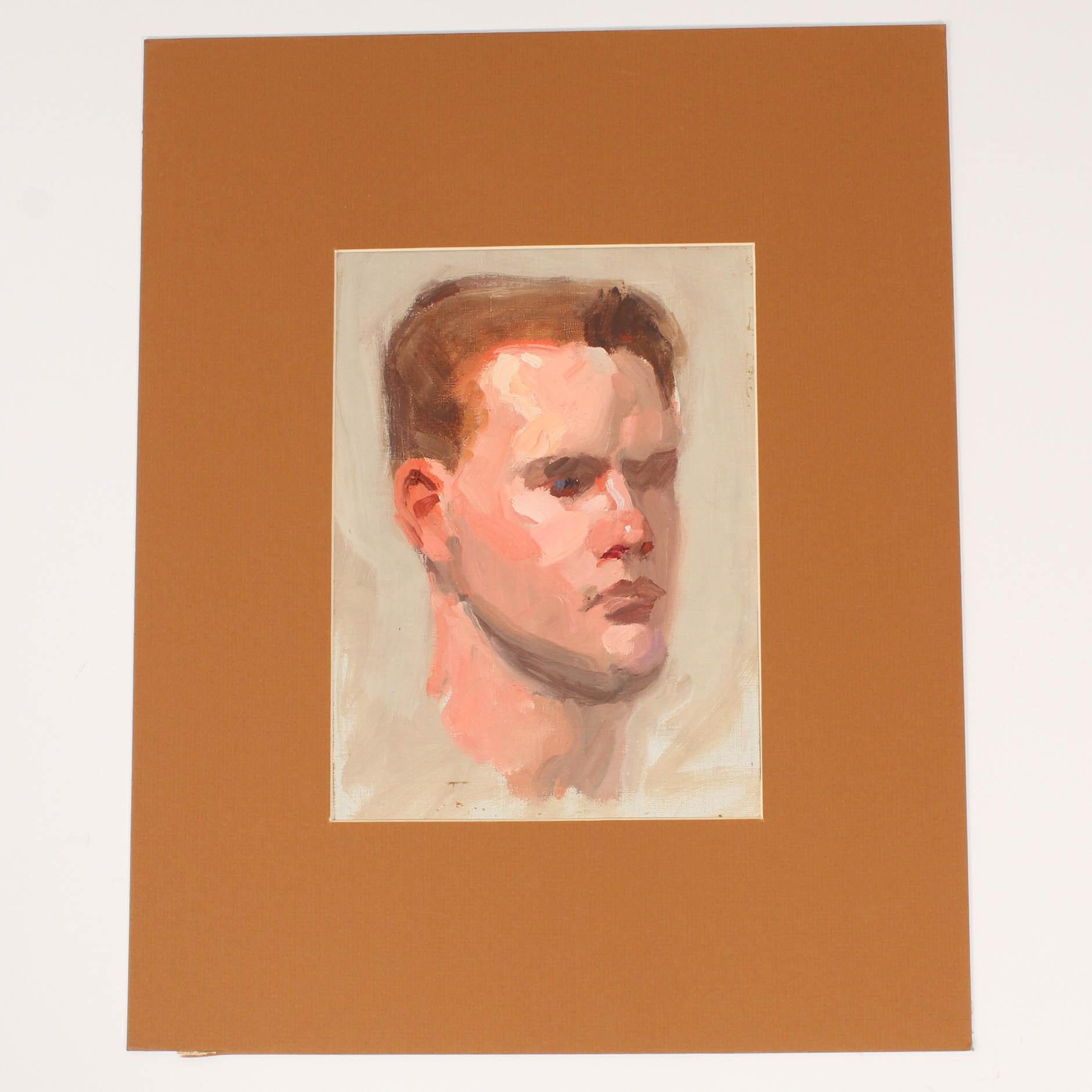 Vintage Portrait Oil Painting, Circa 1930s - 1940s