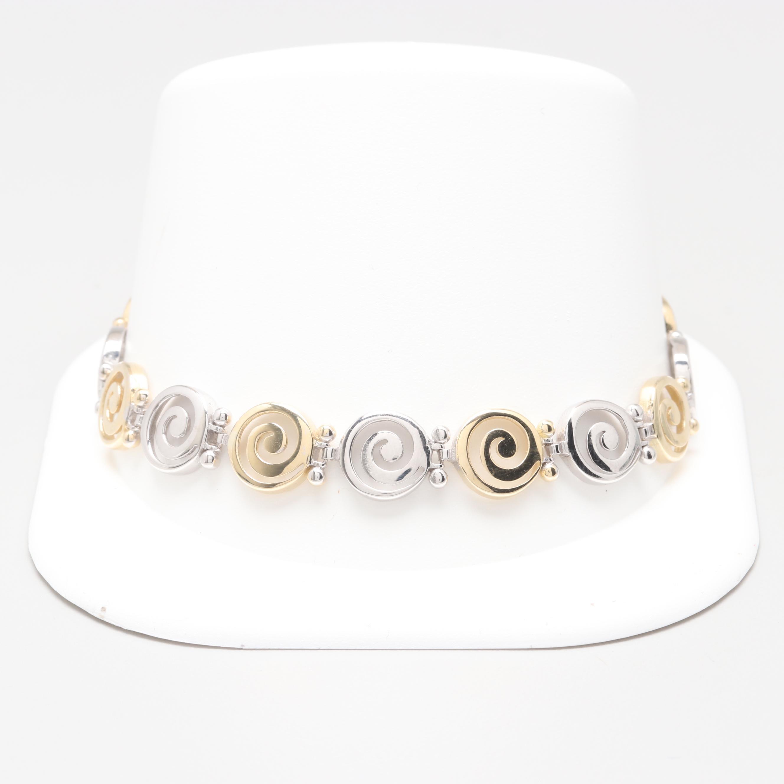 14K Yellow and White Gold Swirl Link Bracelet