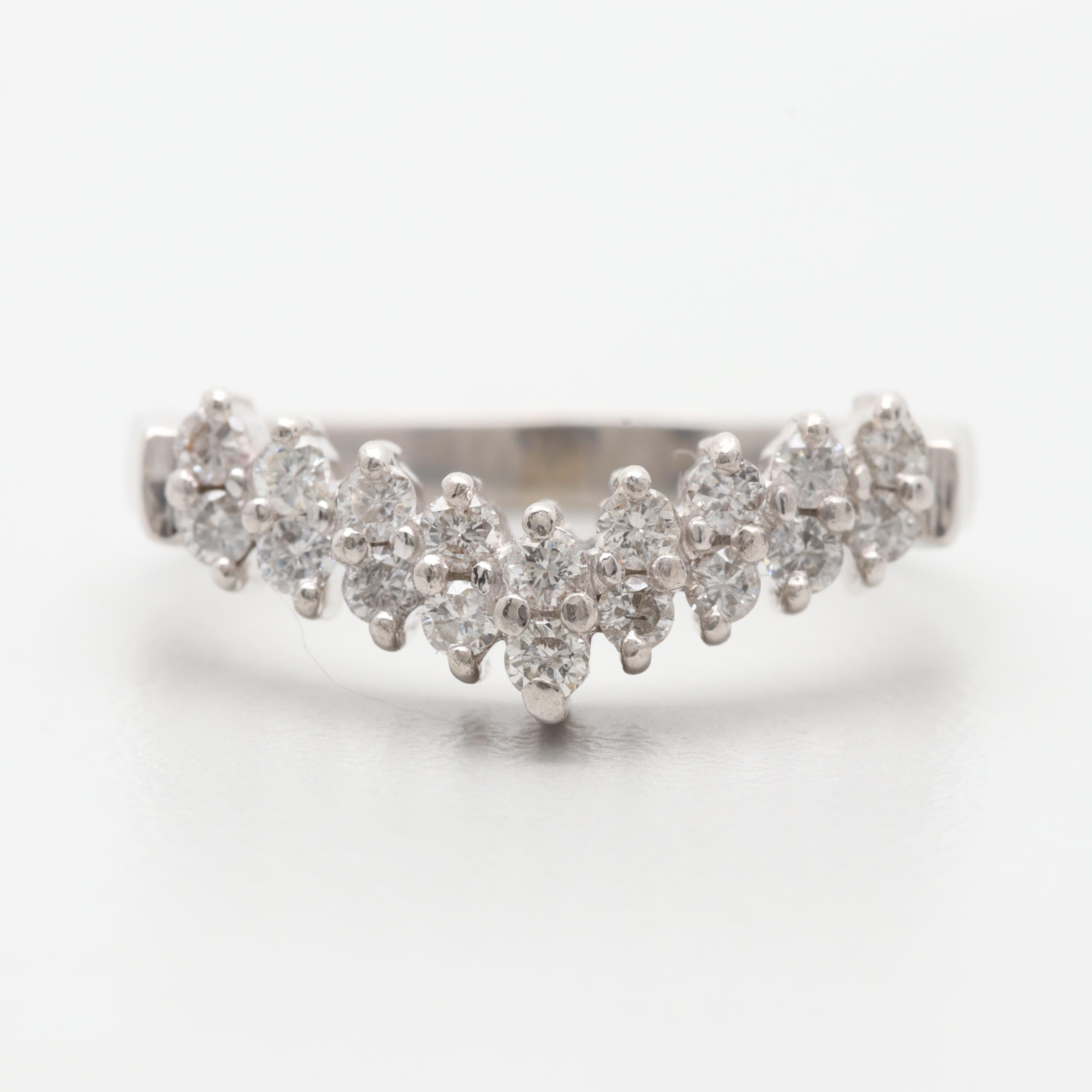 Platinum Diamond Chevron Ring