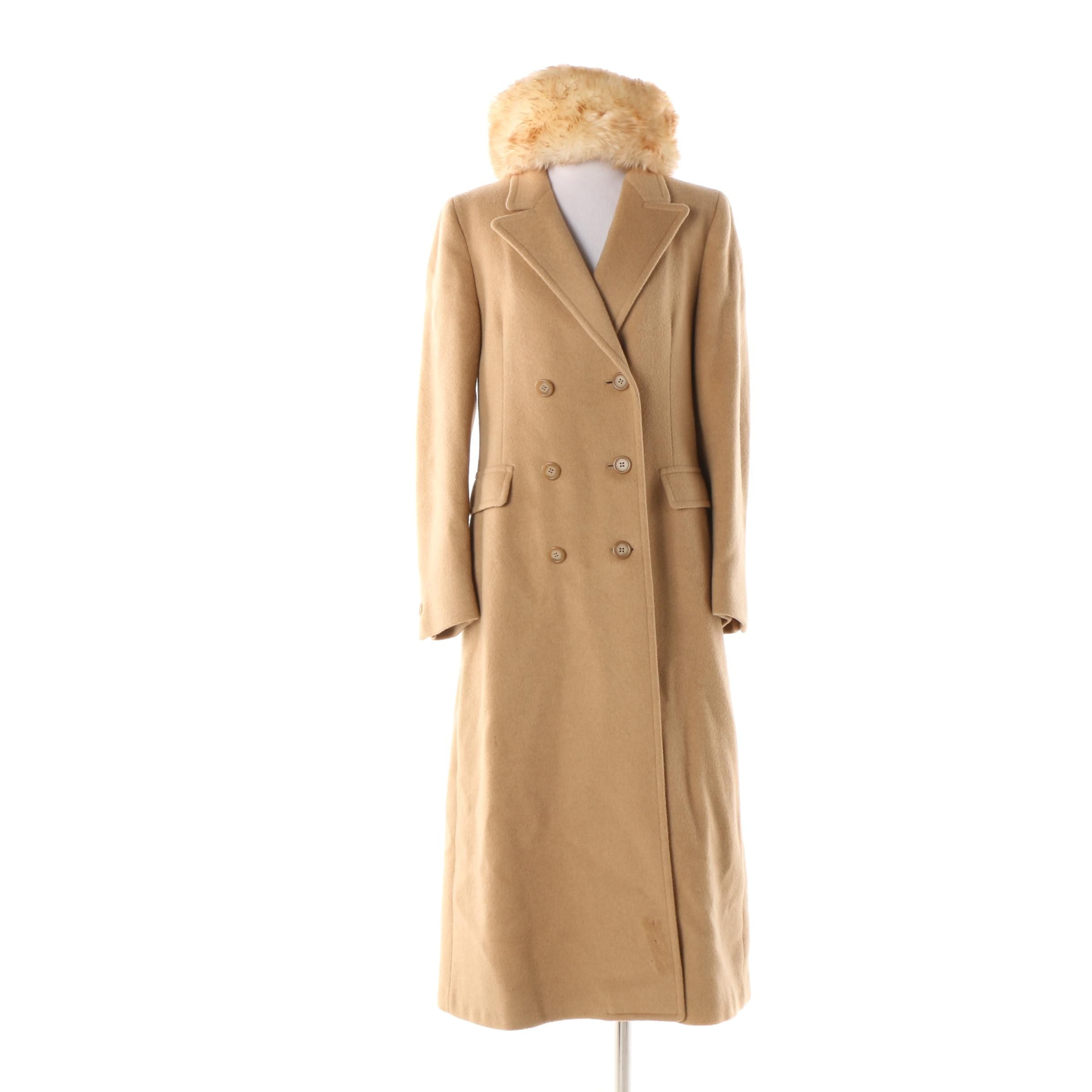 Women's Brooks Brothers Double-Breasted Wool Coat with Italian Lamb Fur Hat