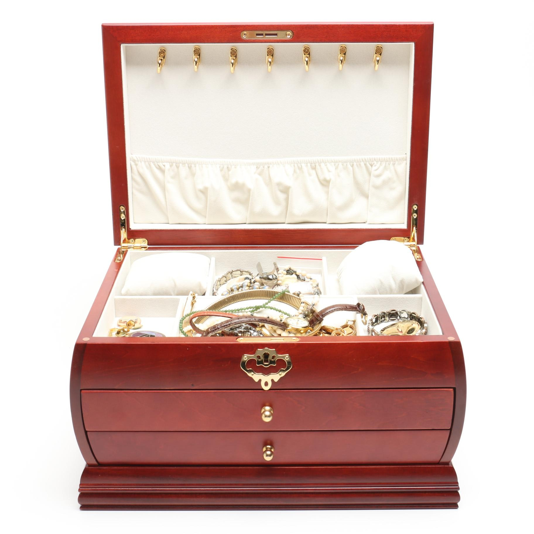 Jewelry Box Filled With Costume Jewelry