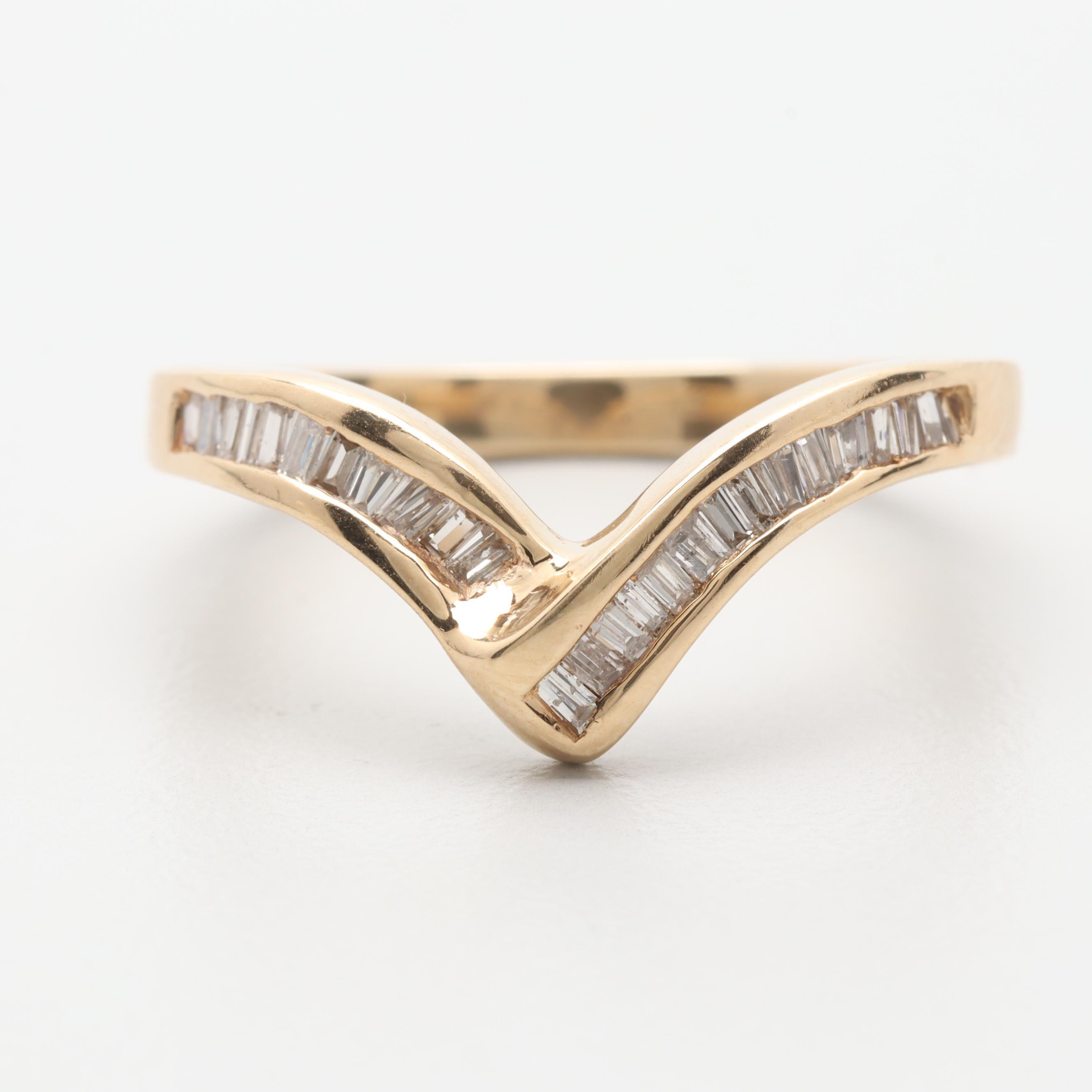 14K Yellow Gold Diamond Channel Chevron Ring