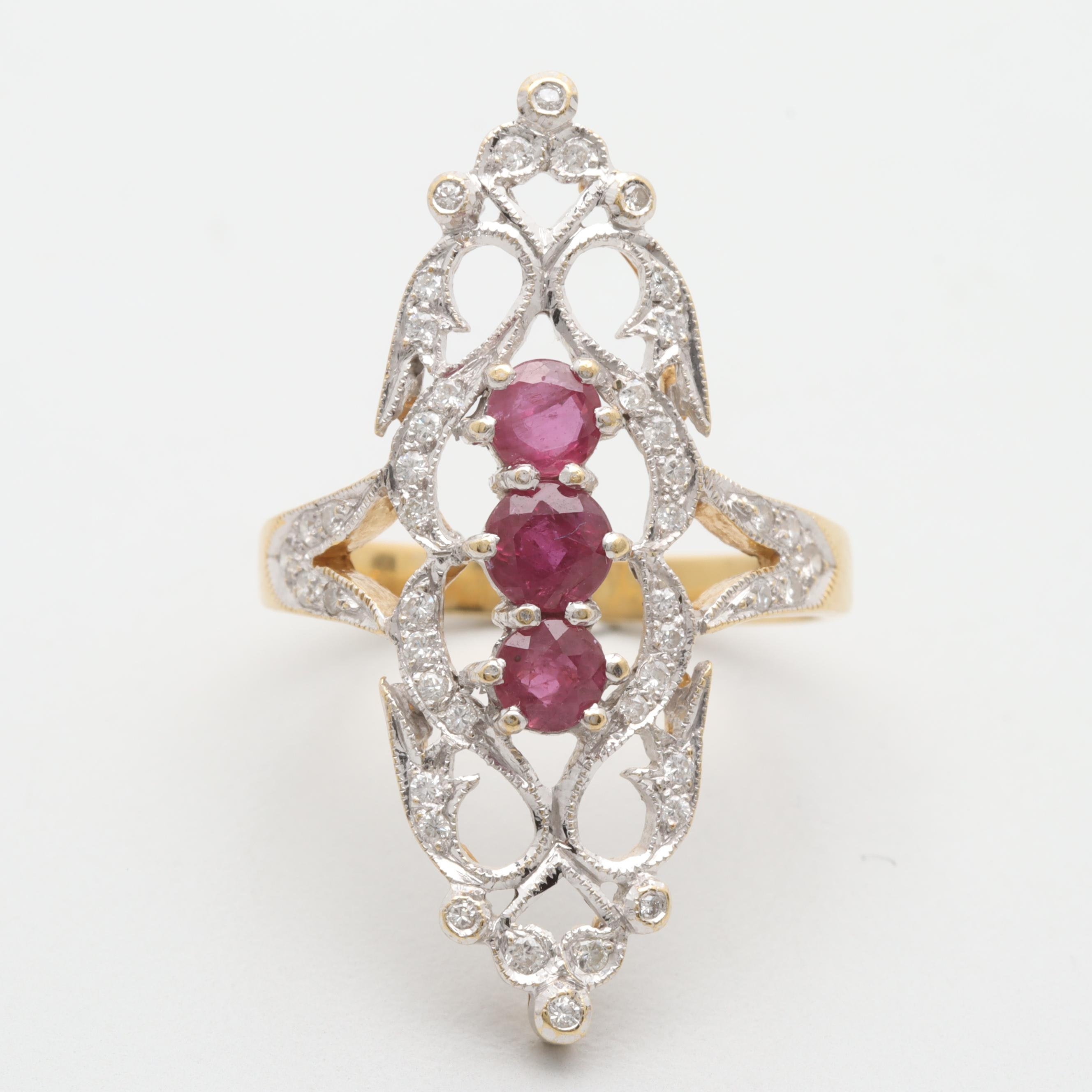 18K Yellow and White Gold Ruby and Diamond Ring