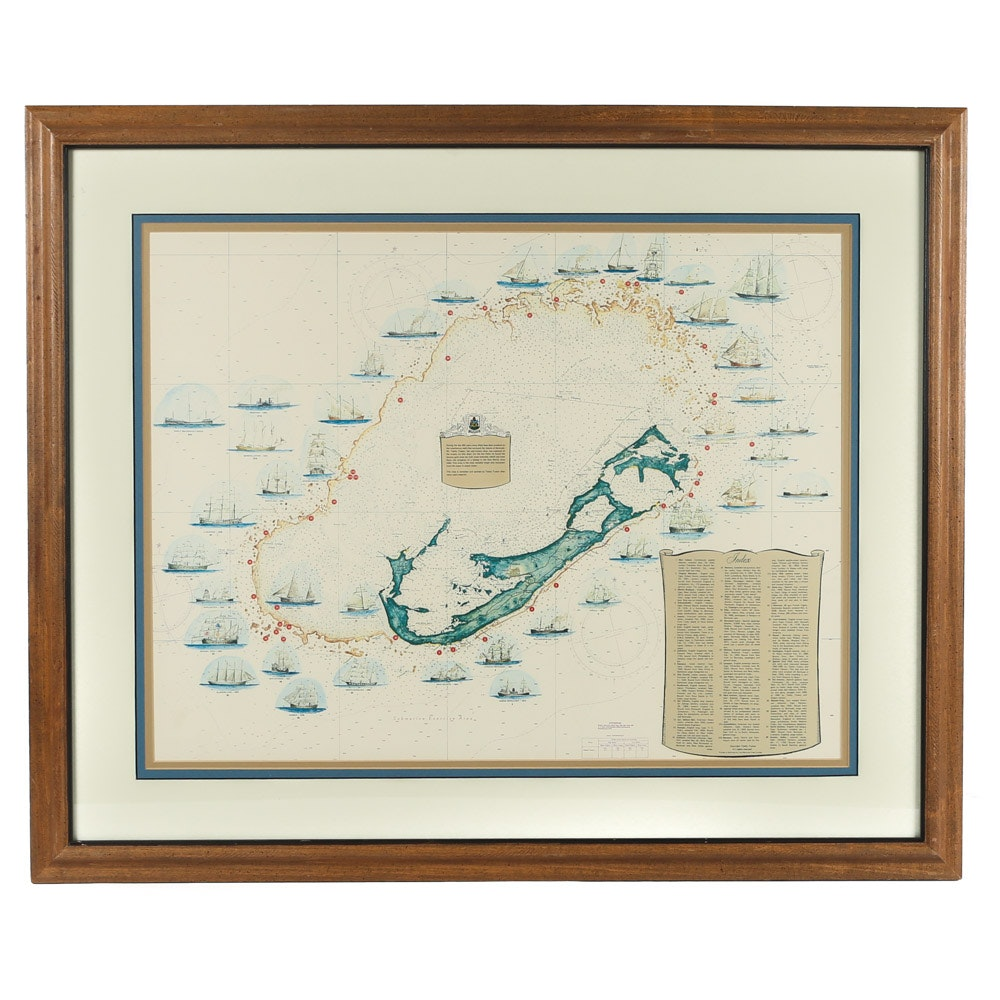 Offset Lithograph Map of Bermuda Shipwrecks After Teddy Tucker