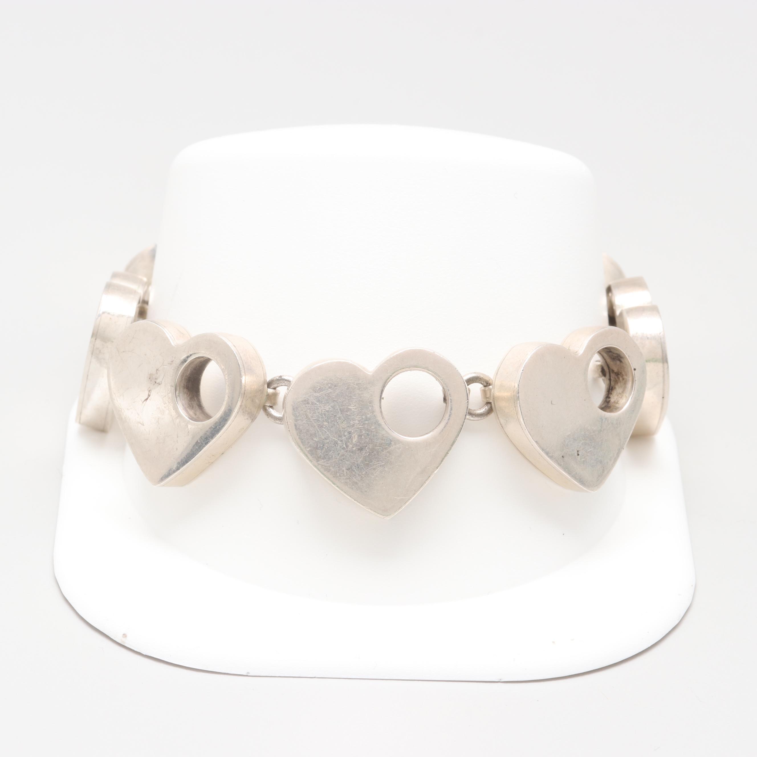 Mexican Sterling Silver Fancy Heart Link Bracelet