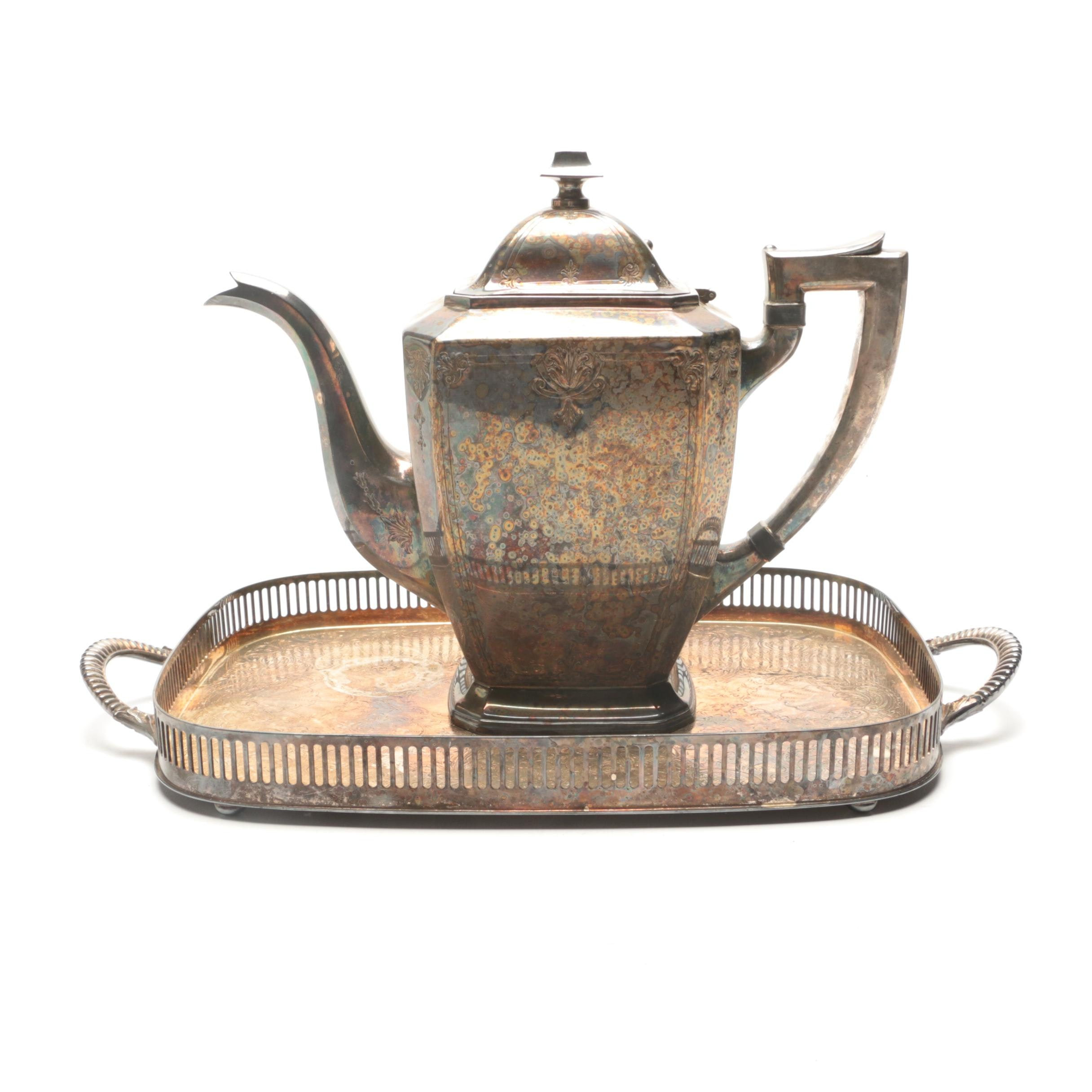 """Antique """"Sheffield Co."""" Silver Plated Teapot and """"S.F."""" Company Serving Tray"""