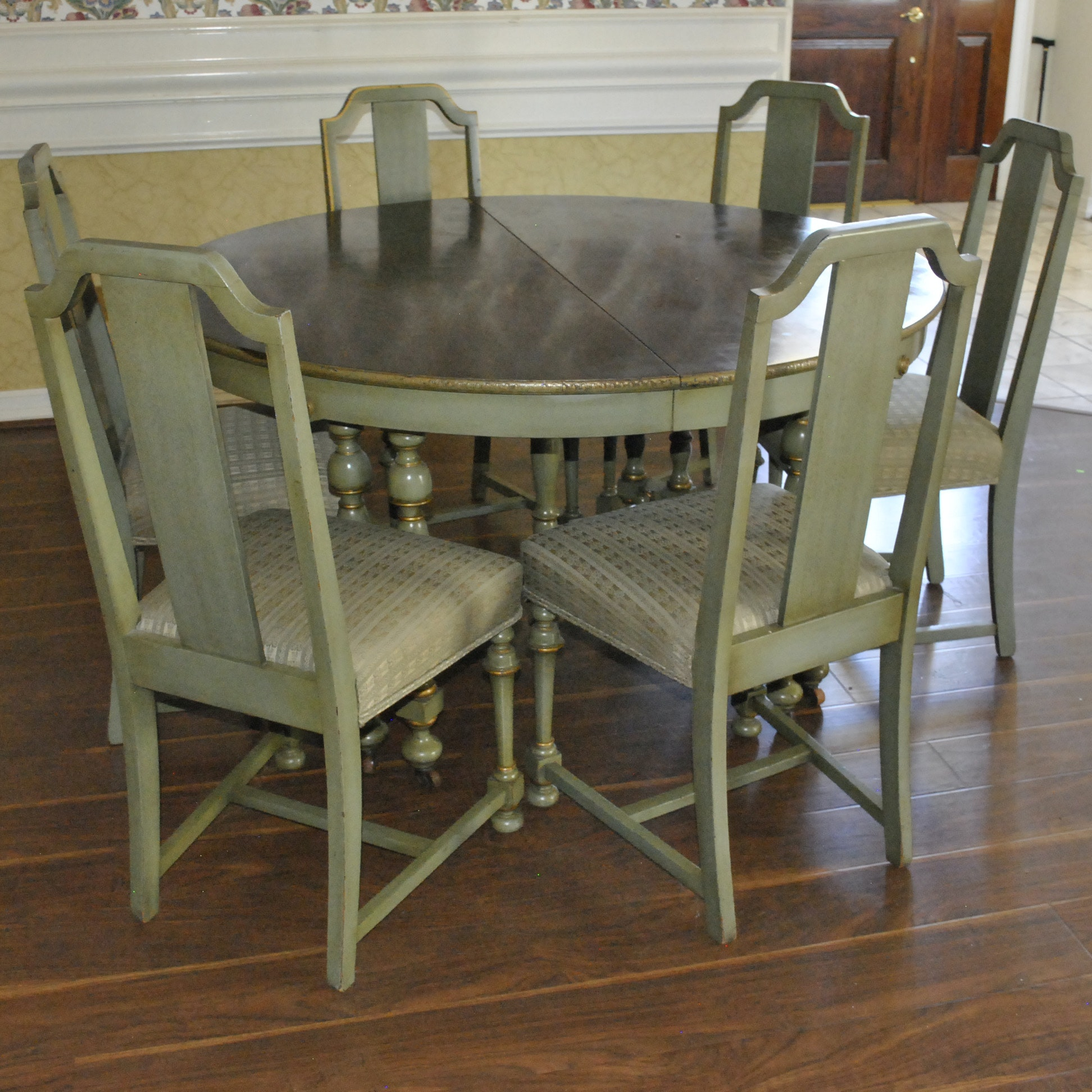 Green Painted Wooden Dinette Table and Chairs Set