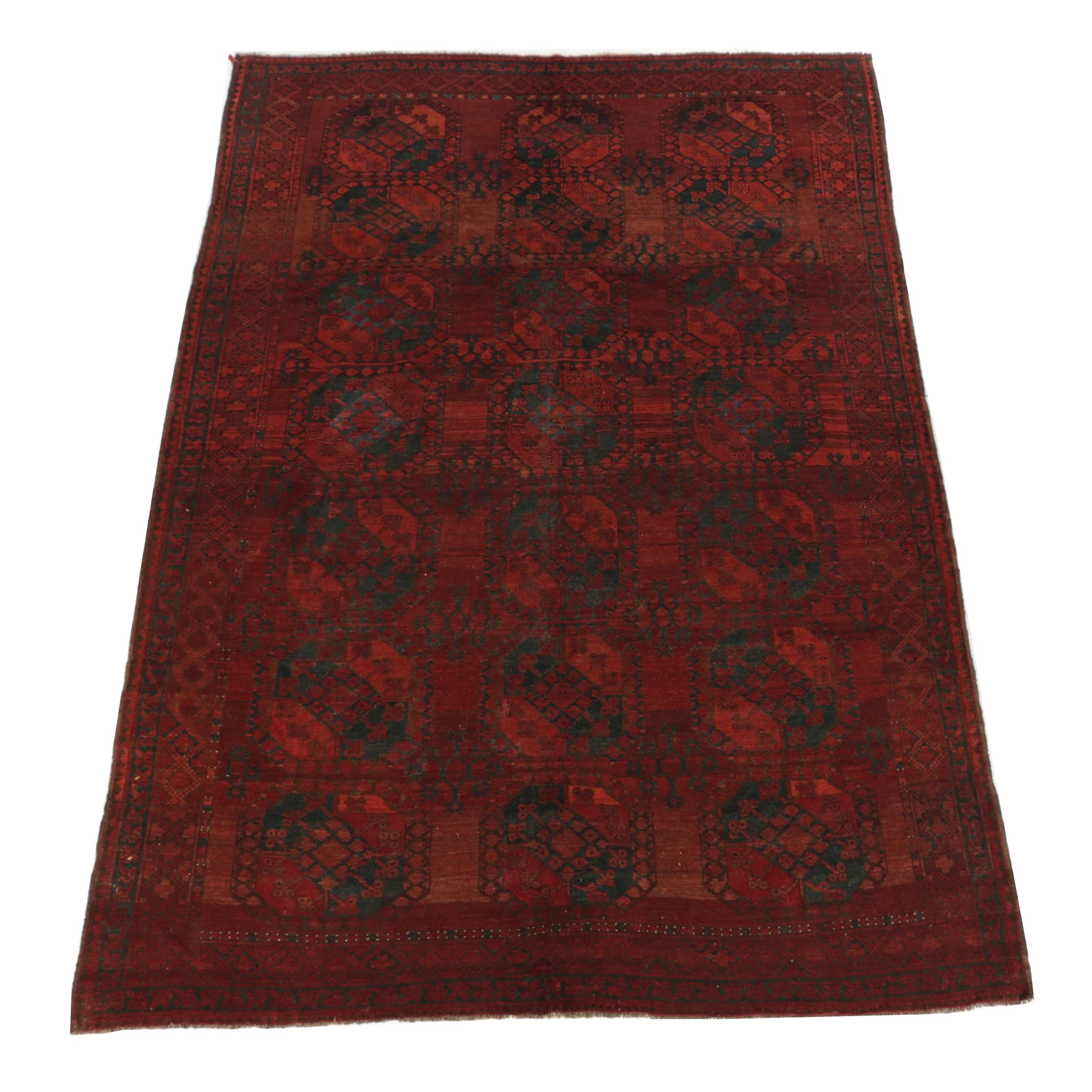 Hand-Knotted Afghani Turkmen Ersari Wool Area Rug