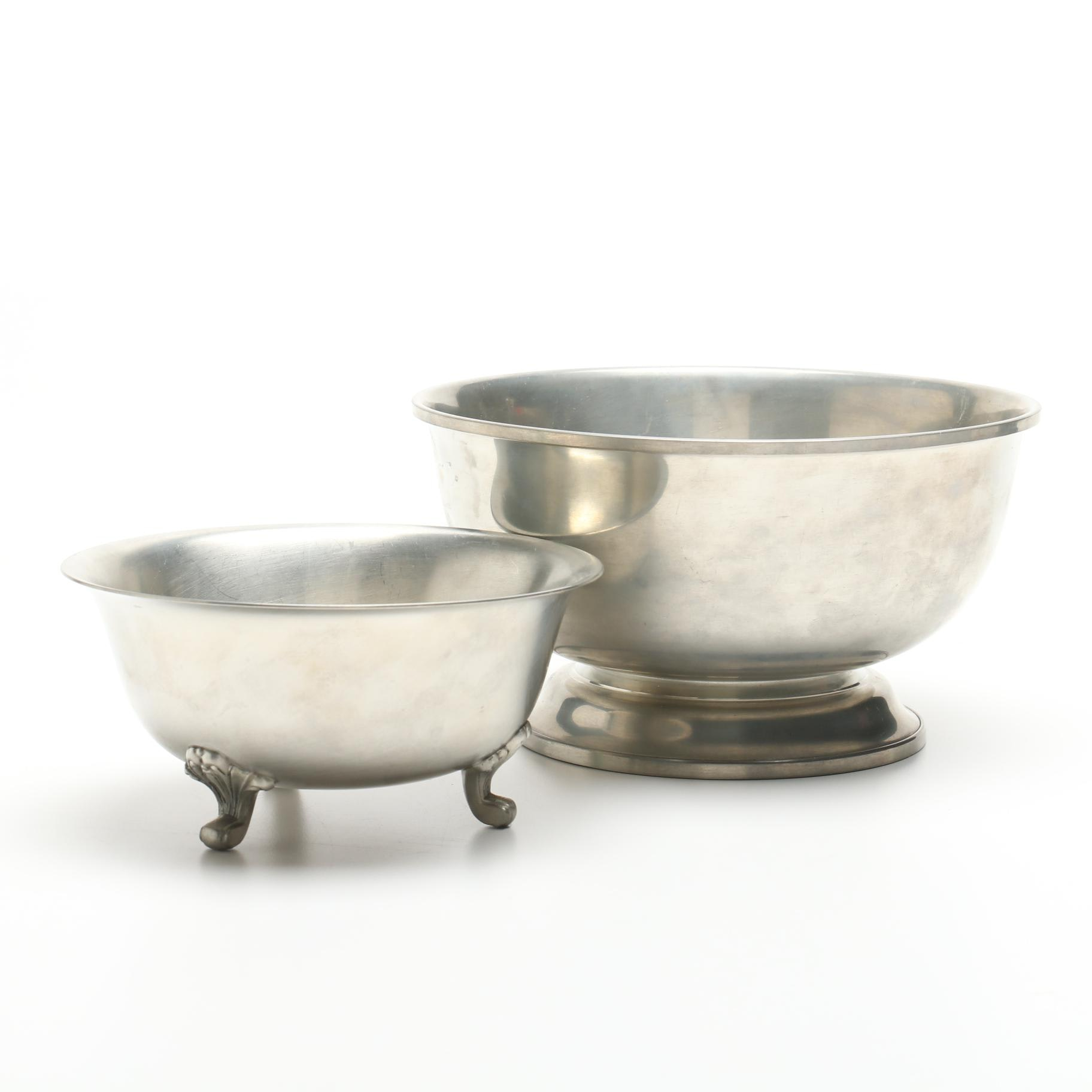 Woodbury Pewter's Paul Revere Style Bowl with Preisner Pewter Footed Candy Dish