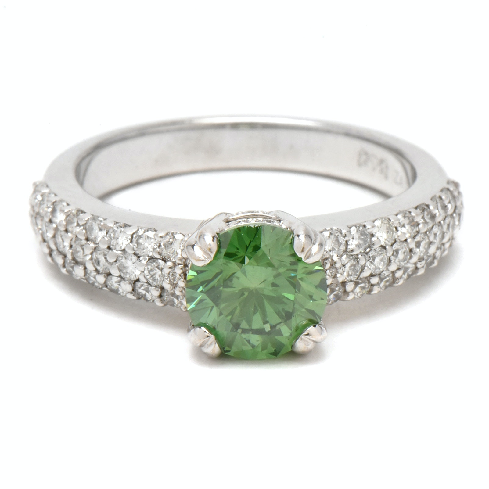 14K White Gold 1.92 CTW Green Color Treated Diamond Ring