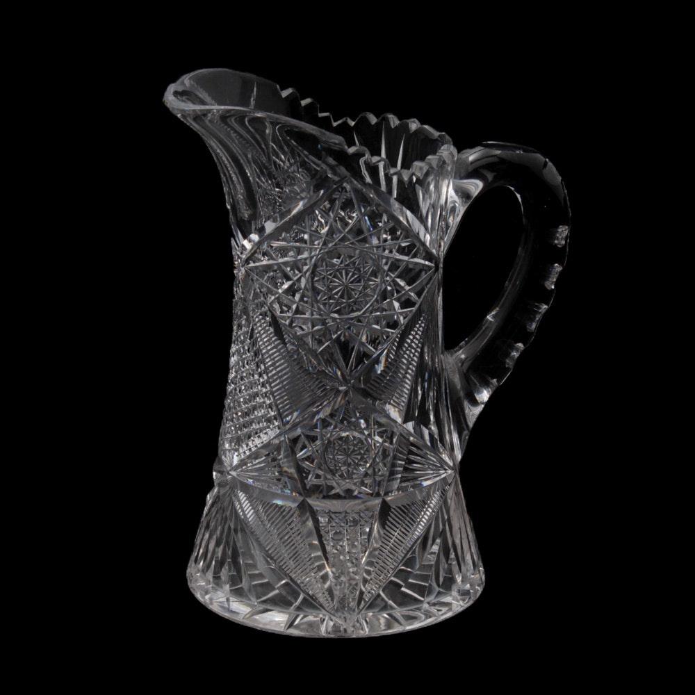 Antique American Brilliant Period Cut Glass Pitcher