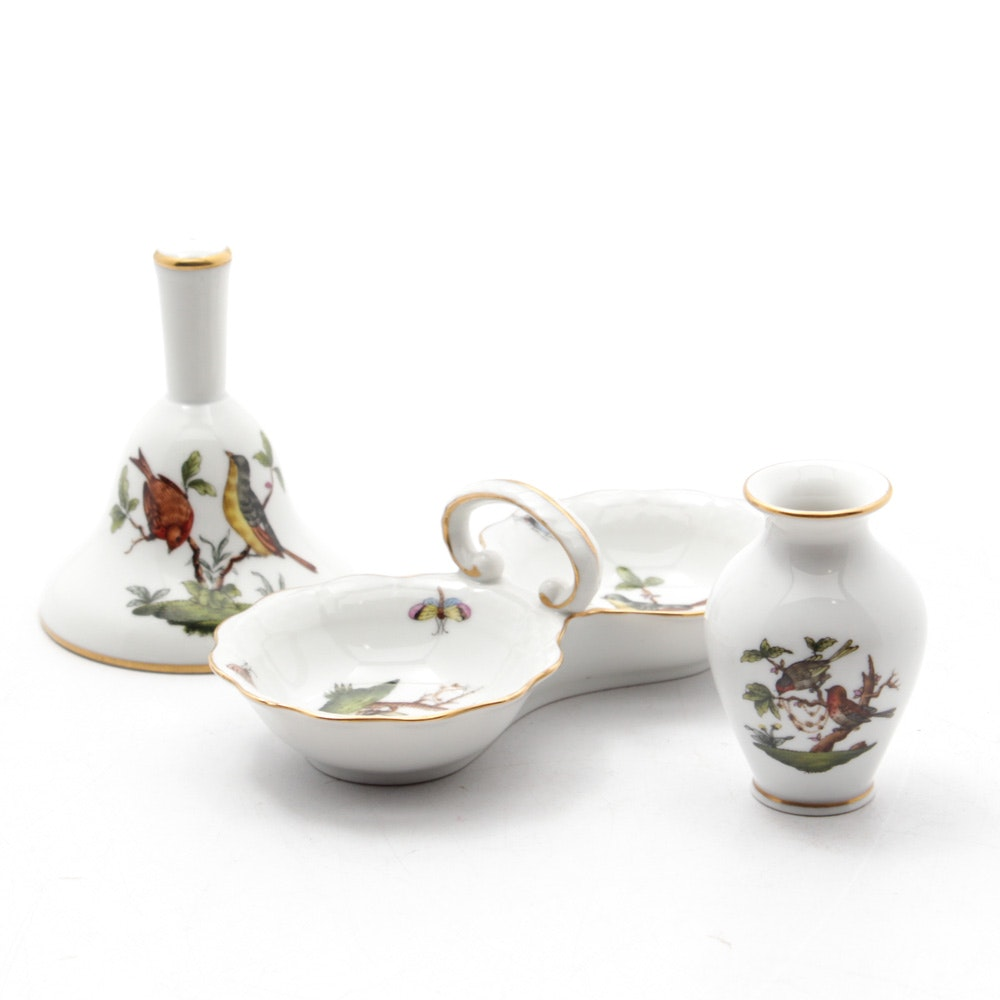 "Herend Hungary ""Rothschild Bird"" Porcelain Tableware"