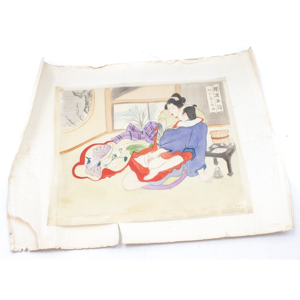 Japanese Ink and Gouache Shunga Erotic Painting on Silk