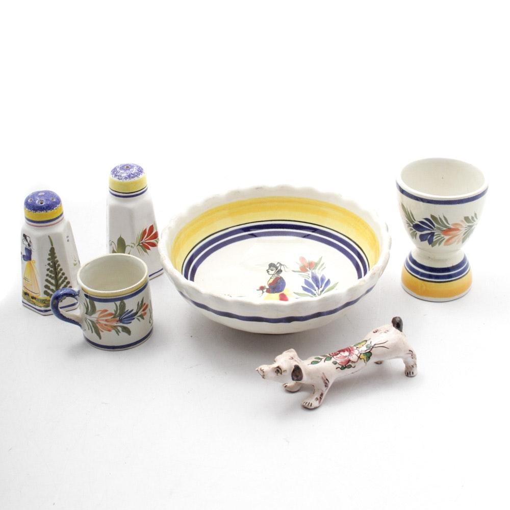 Vintage Henriot Quimper Hand-Decorated Ceramics
