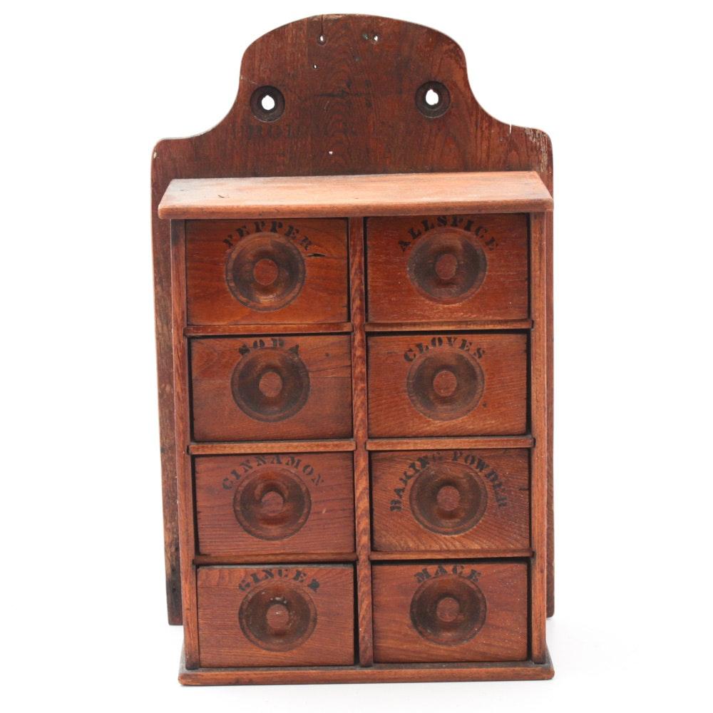 Vintage Wooden Spice Cabinet
