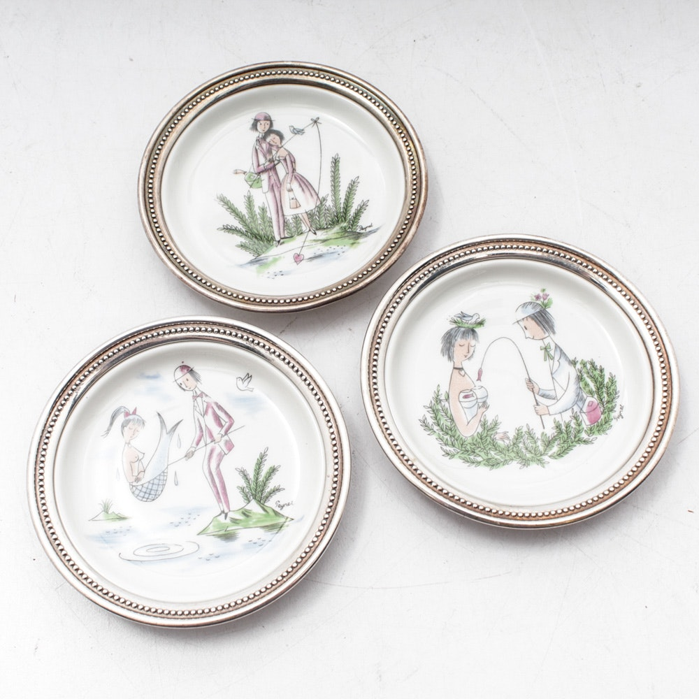 Rosenthal Sterling Silver-Edged Porcelain Coasters by Raymond Peynet