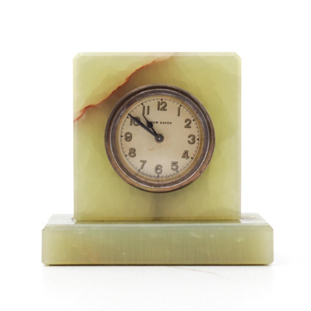 Vintage New Haven Green Onyx Desk Clock