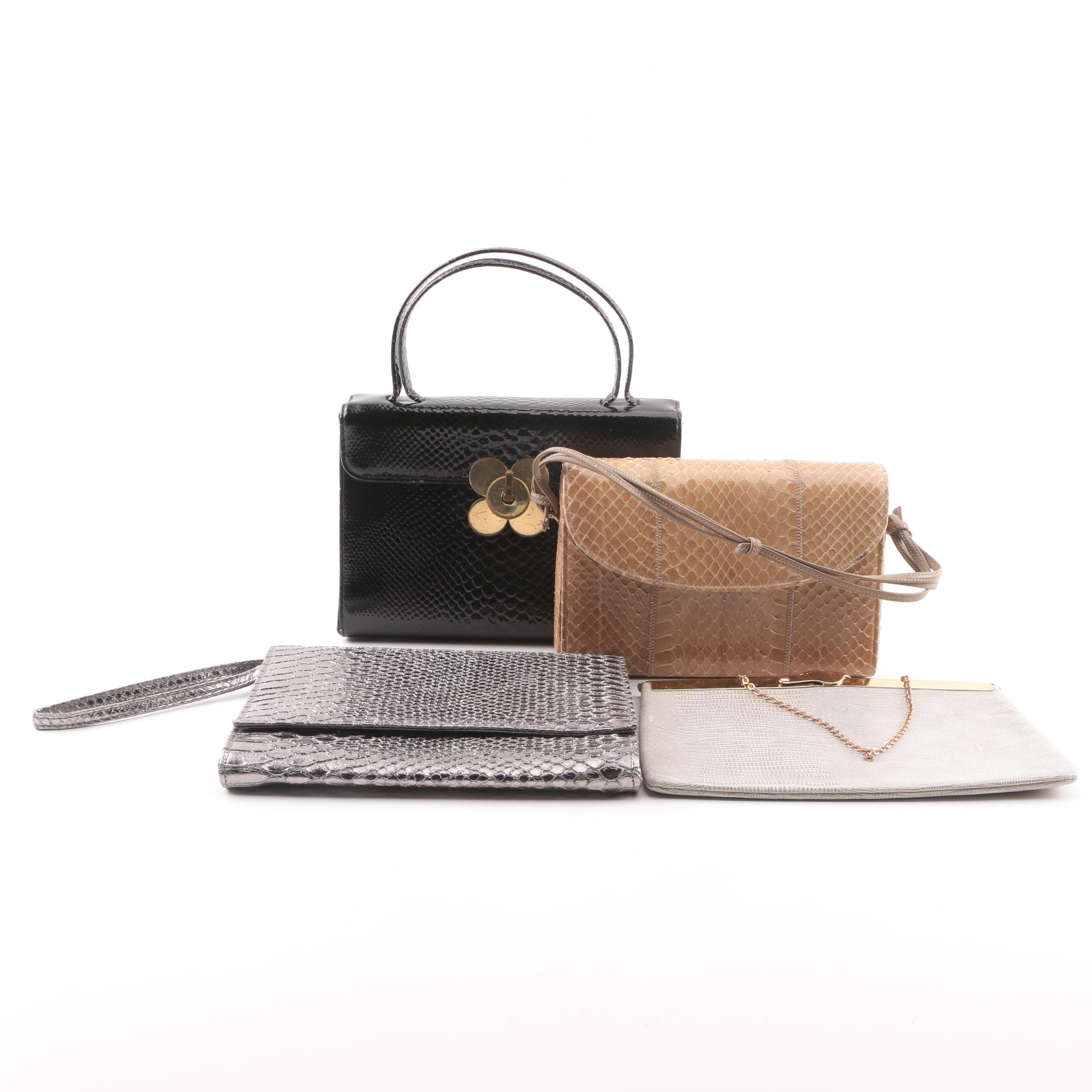 Embossed Leather and Snakeskin Handbags Including Neiman Marcus and Palizzio