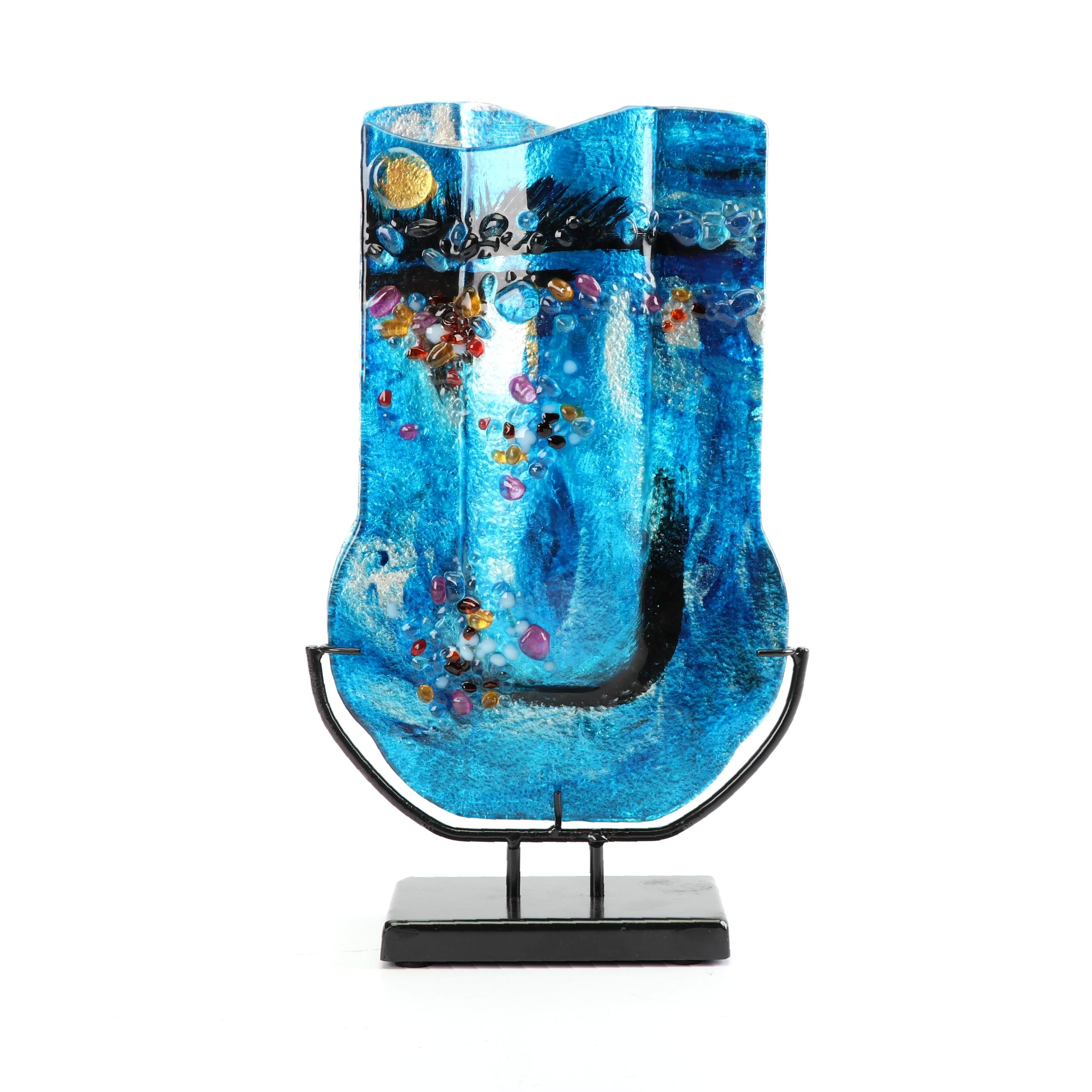 Contemporary Fused Glass Vase by Jasmine Art Glass