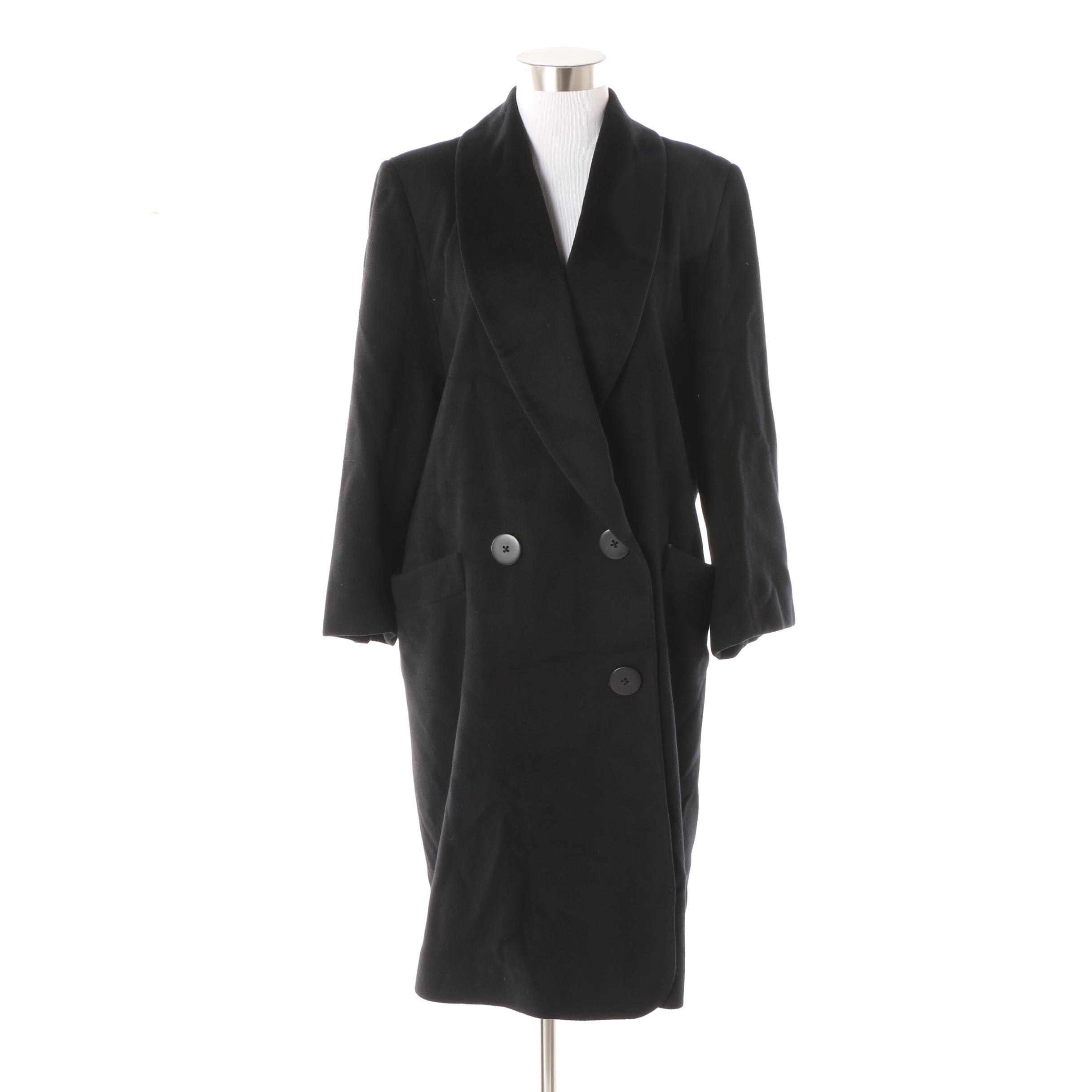 Women's Circa 1990s Christian Dior Black Cashmere Blend Coat