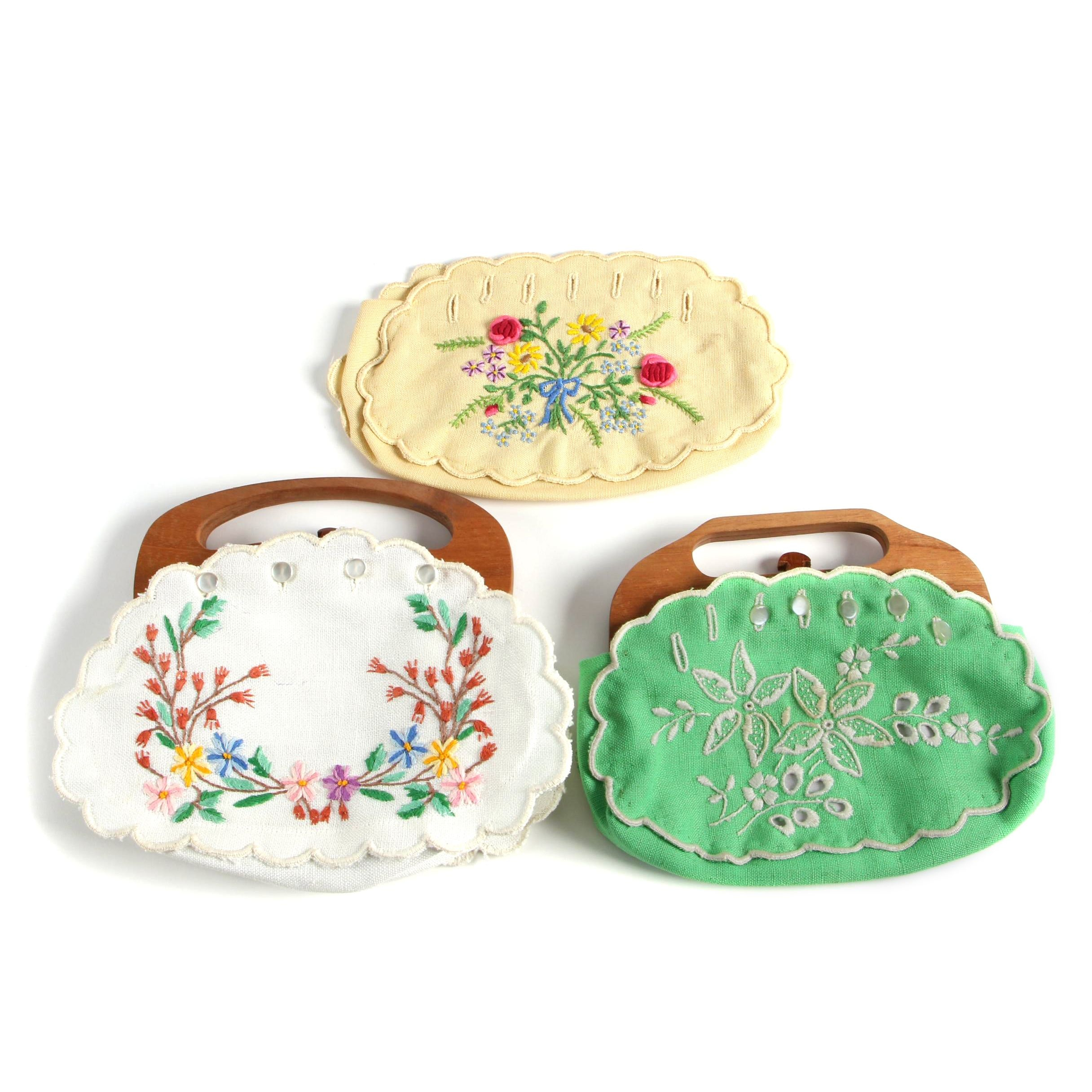 Vintage Wood-Handled Clutches with Interchangeable Embroidered Covers