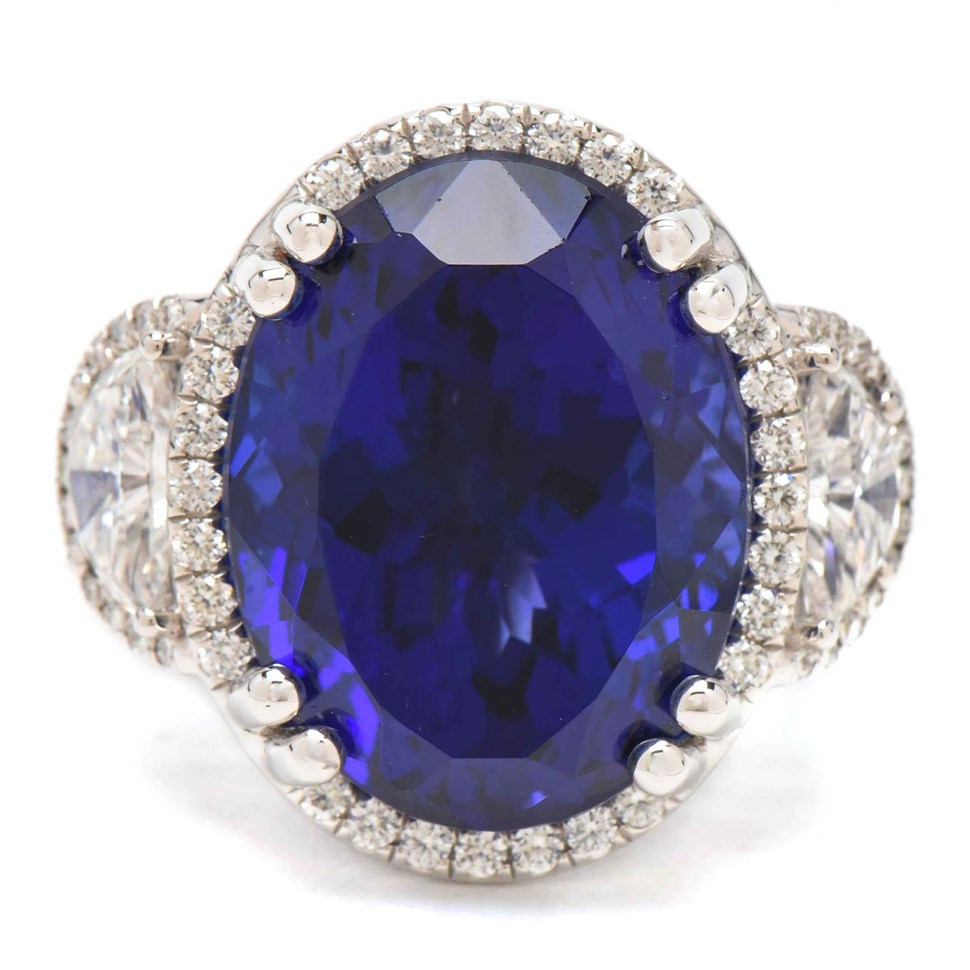 18K White Gold 25.78 CT Tanzanite & 2.14 CTW Diamond Ring with AGL & GIA Report