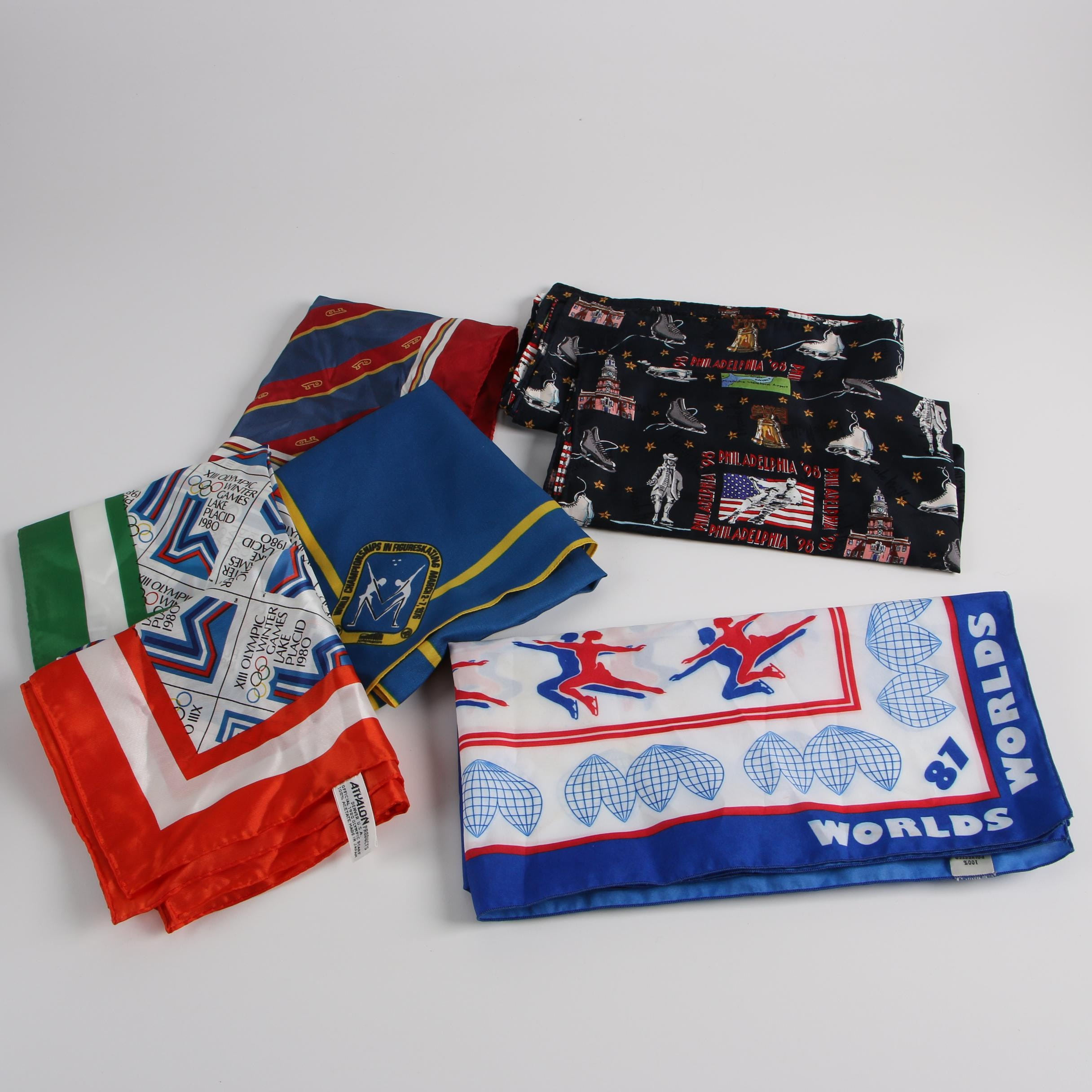 Scarves Including 1980 Winter Olympic Games Scarves